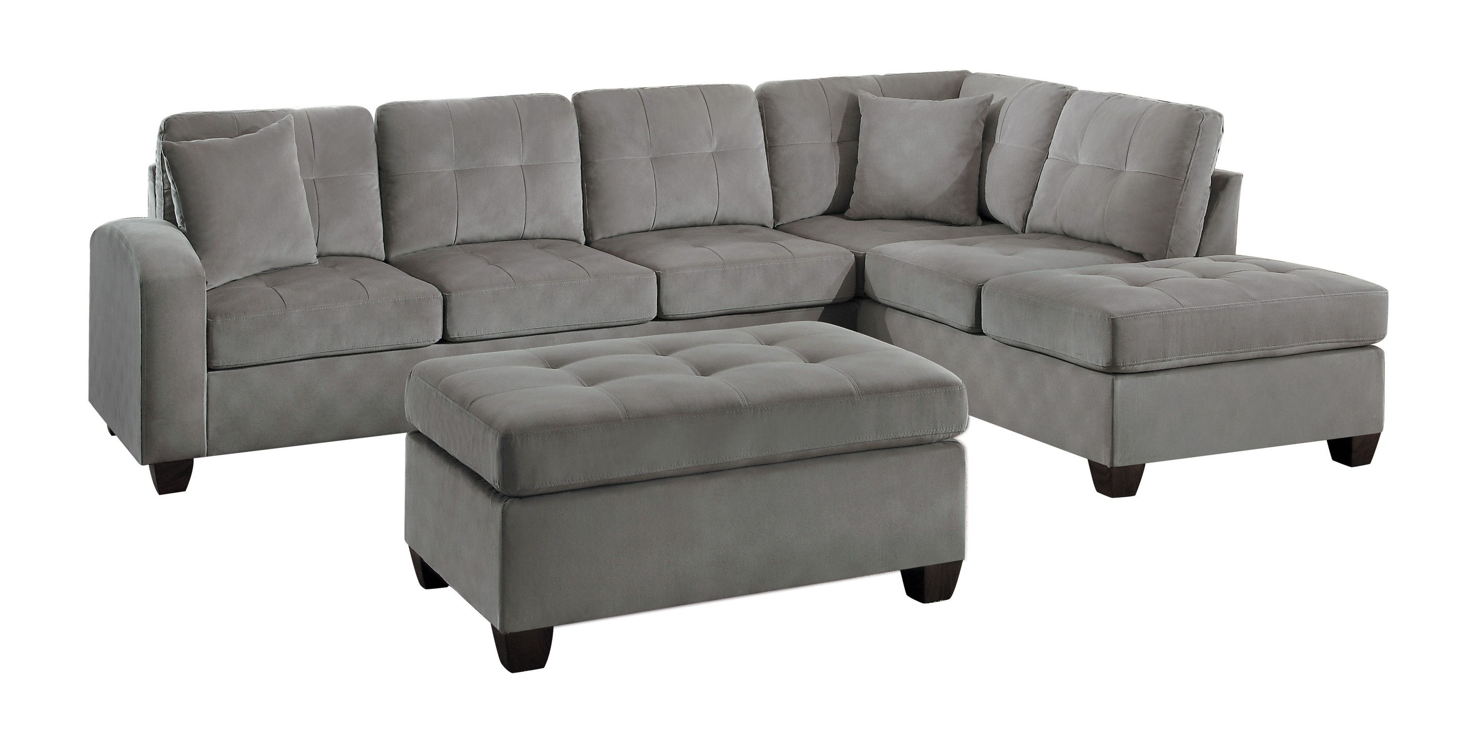 Strange Home Elegance Emilio Taupe 3Pc Sectional With Ottoman Onthecornerstone Fun Painted Chair Ideas Images Onthecornerstoneorg