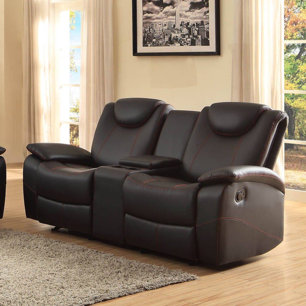Home Elegance Talbot Black Double Glider Reclining Loveseat With
