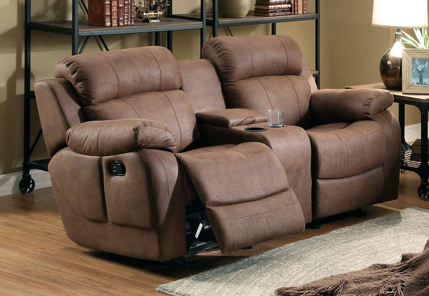 Marille Dark Brown Fabric Double Glider Reclining Loveseat Wconsole