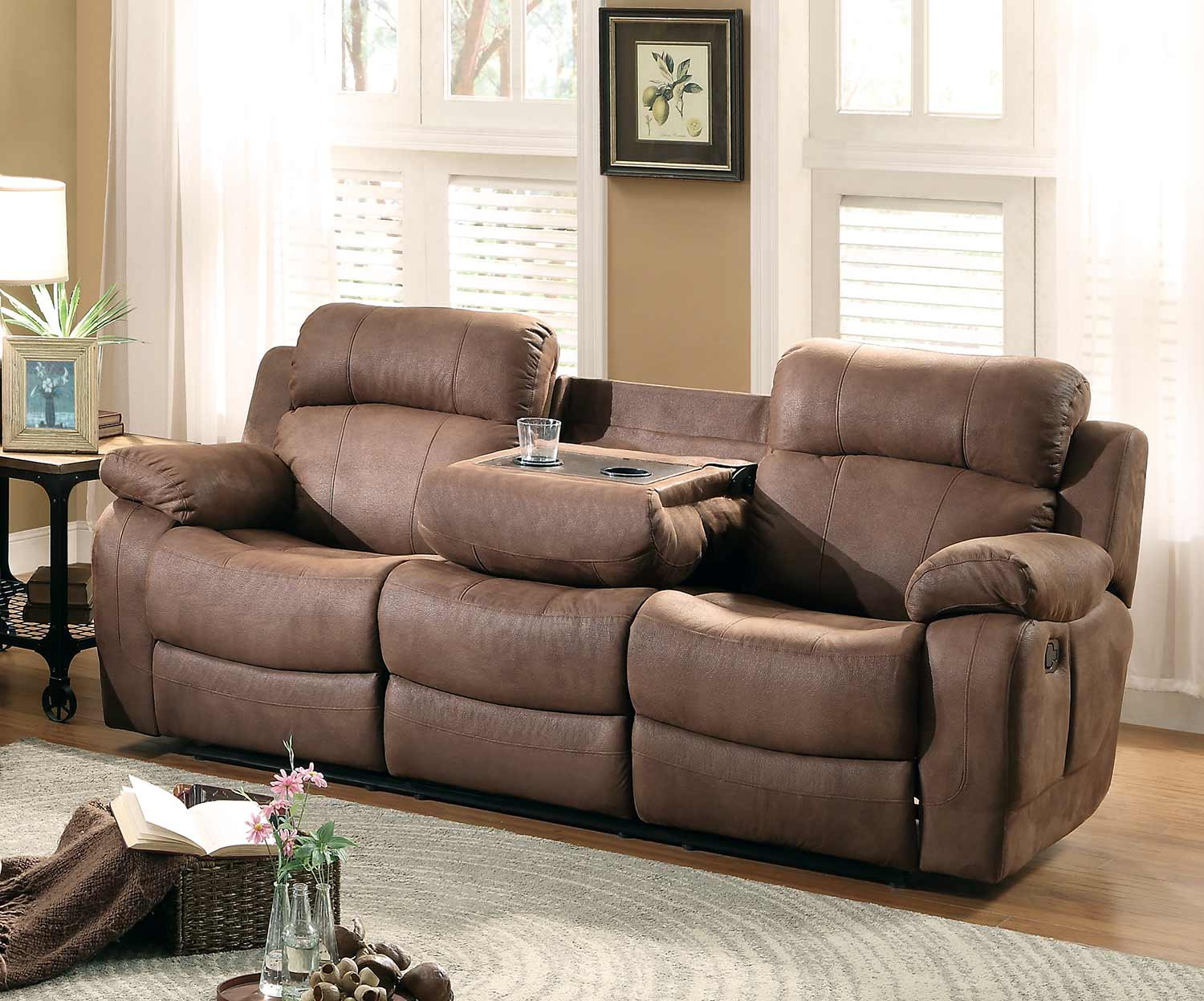 Marille Brown Fabric Double Reclining