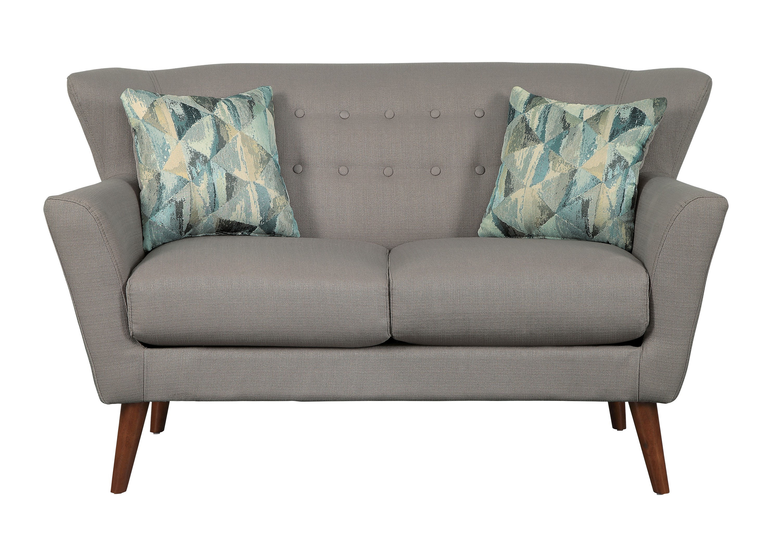 Awesome Home Elegance Maja Gray Loveseat With Two Pillows Gamerscity Chair Design For Home Gamerscityorg