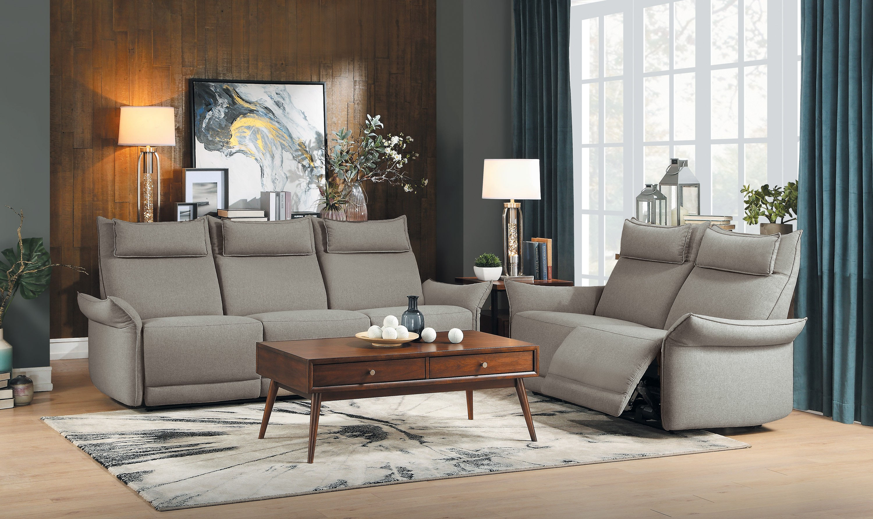 Home Elegance Linette Taupe 2pc Living Room Set