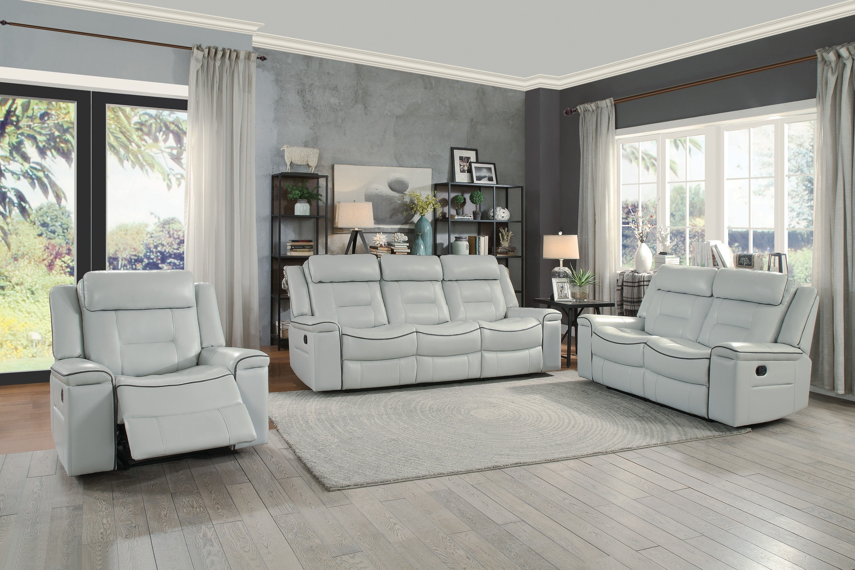Home Elegance Darwan Light Gray Leather 3pc Living Room Set