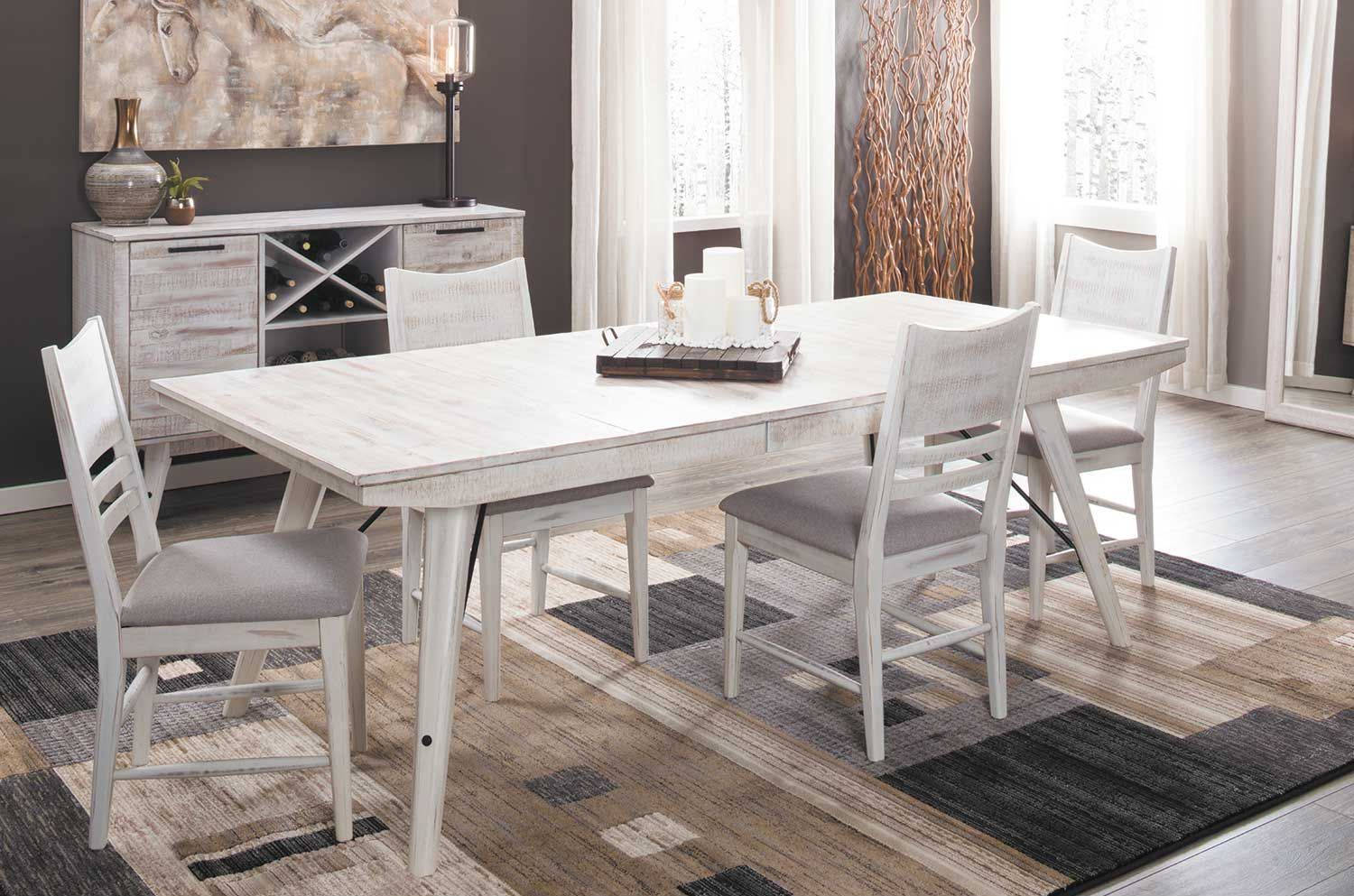 Intercon Modern Rustic Weathered White 5pc Dining Room Set