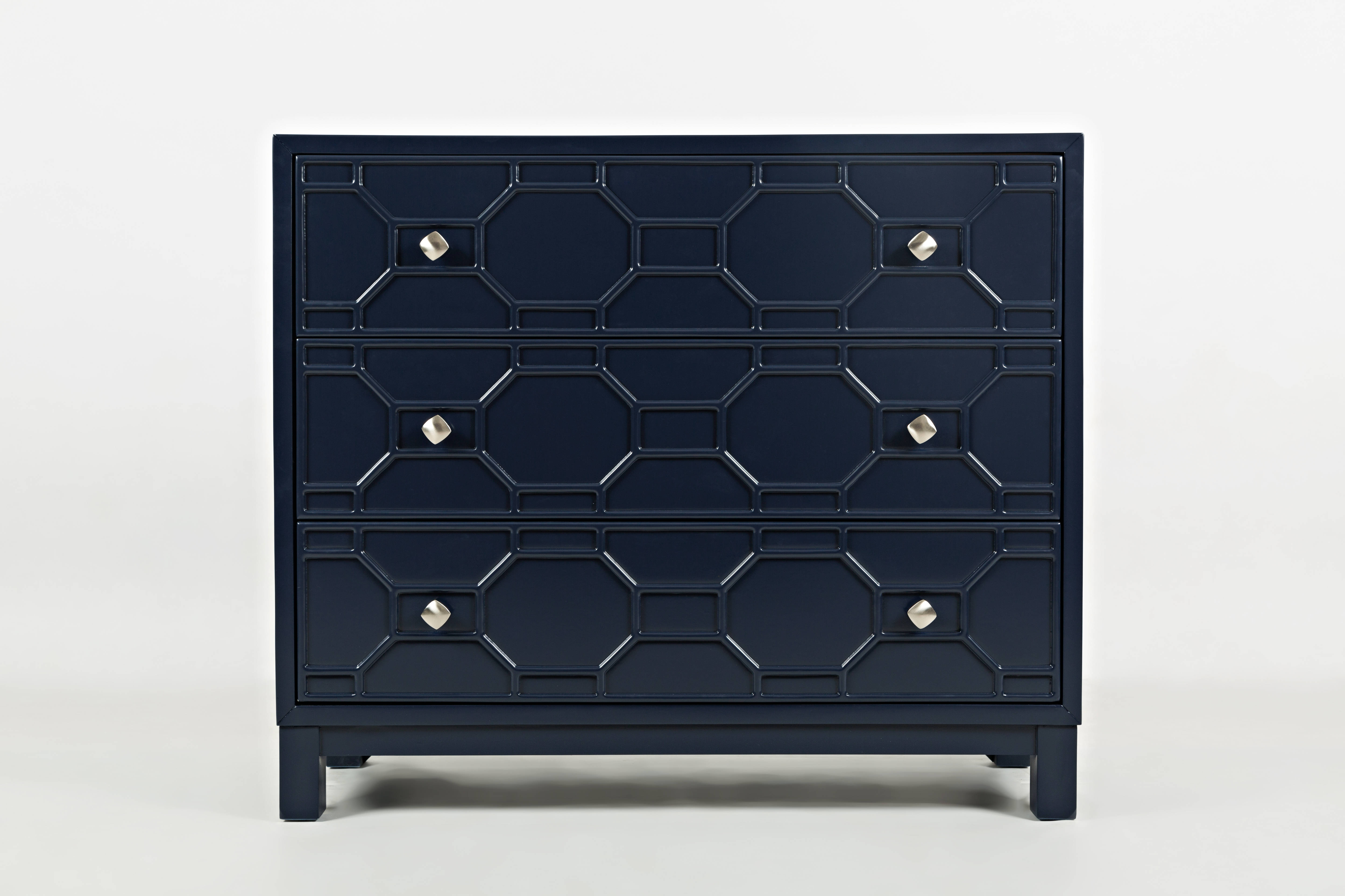 jofran furniture matrix navy accent chest the classy home. Black Bedroom Furniture Sets. Home Design Ideas