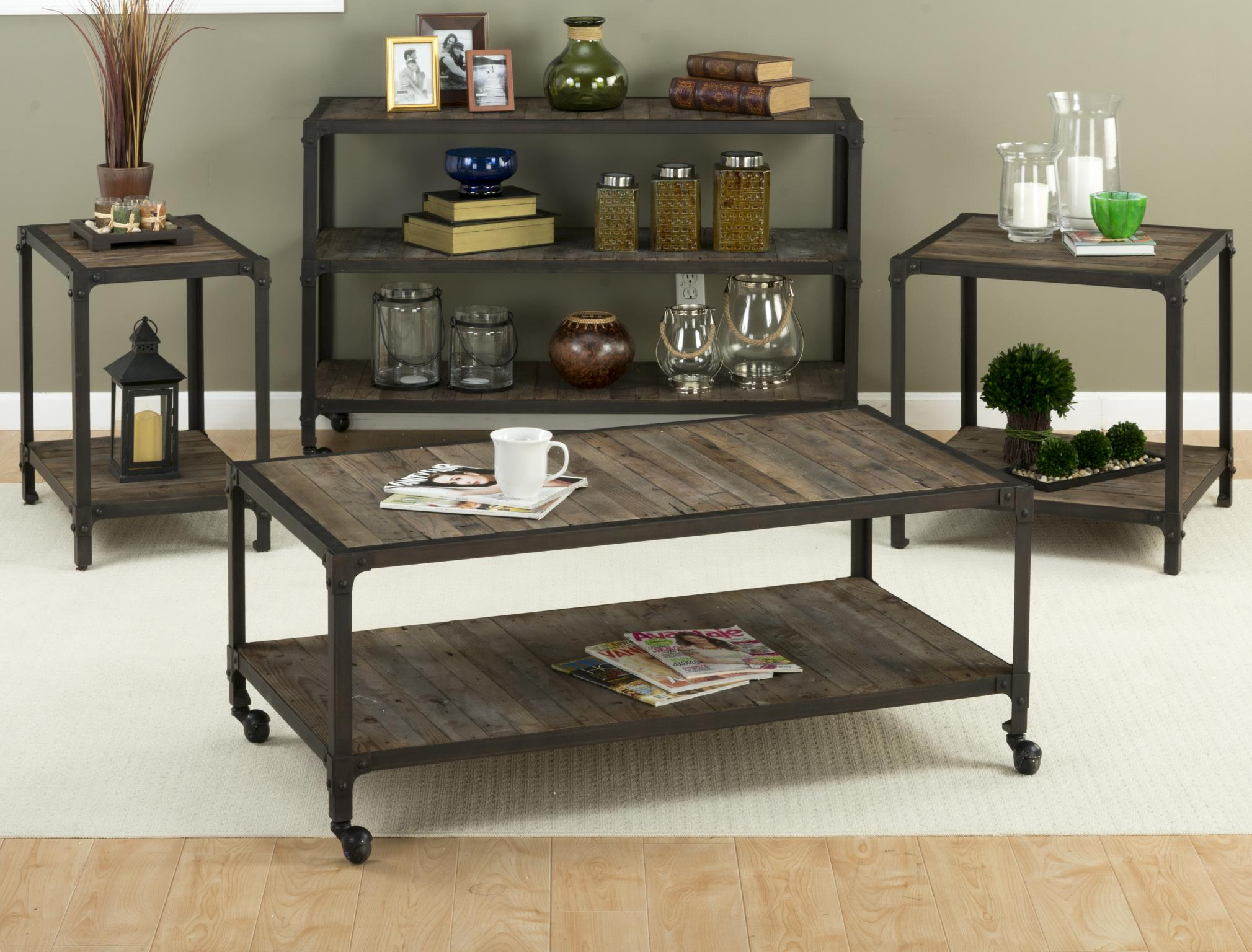 Franklin Forge Contemporary Metal Wood Coffee Table Set