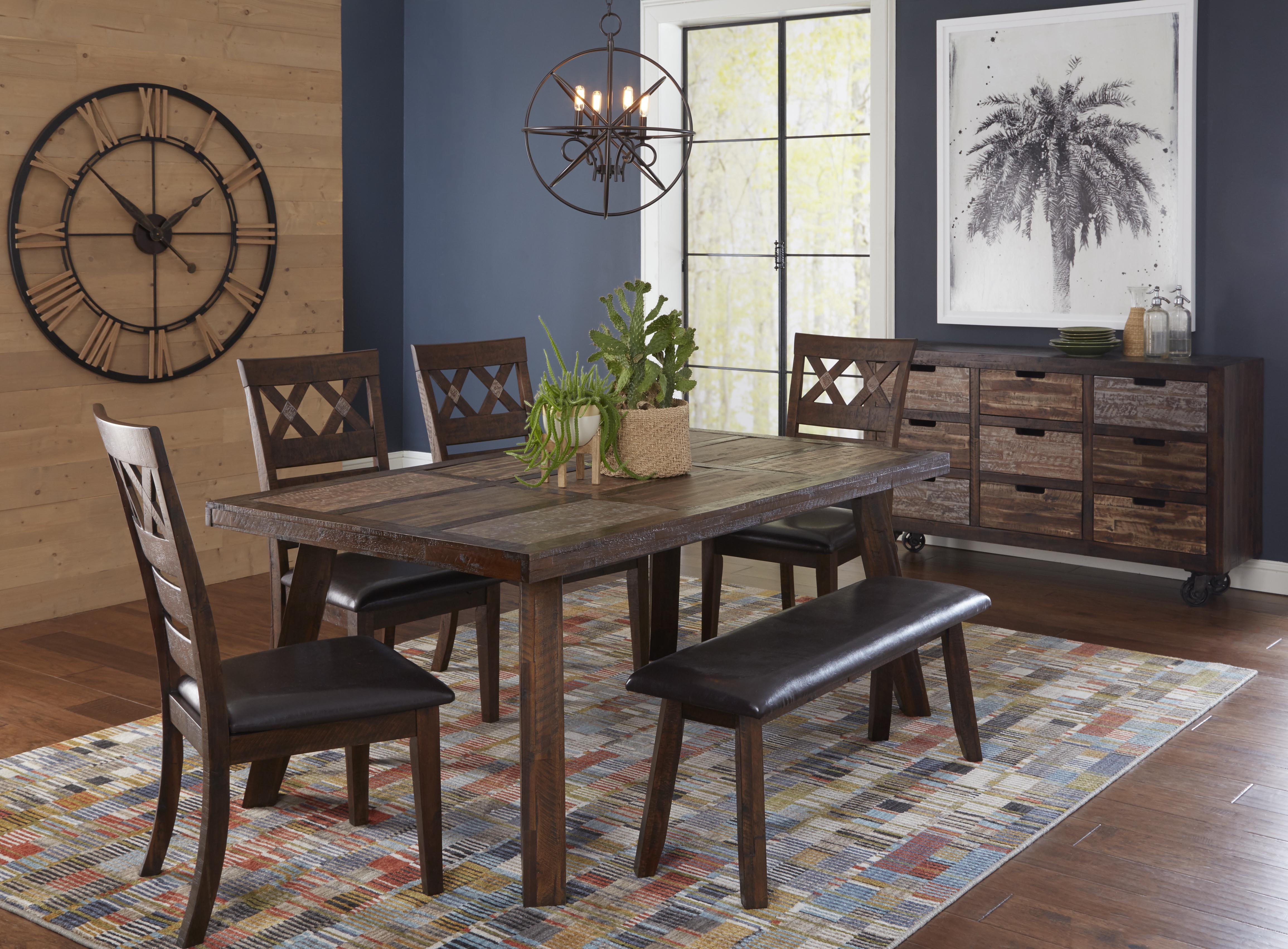 painted canyon acacia solid faux leather 6pc dining room