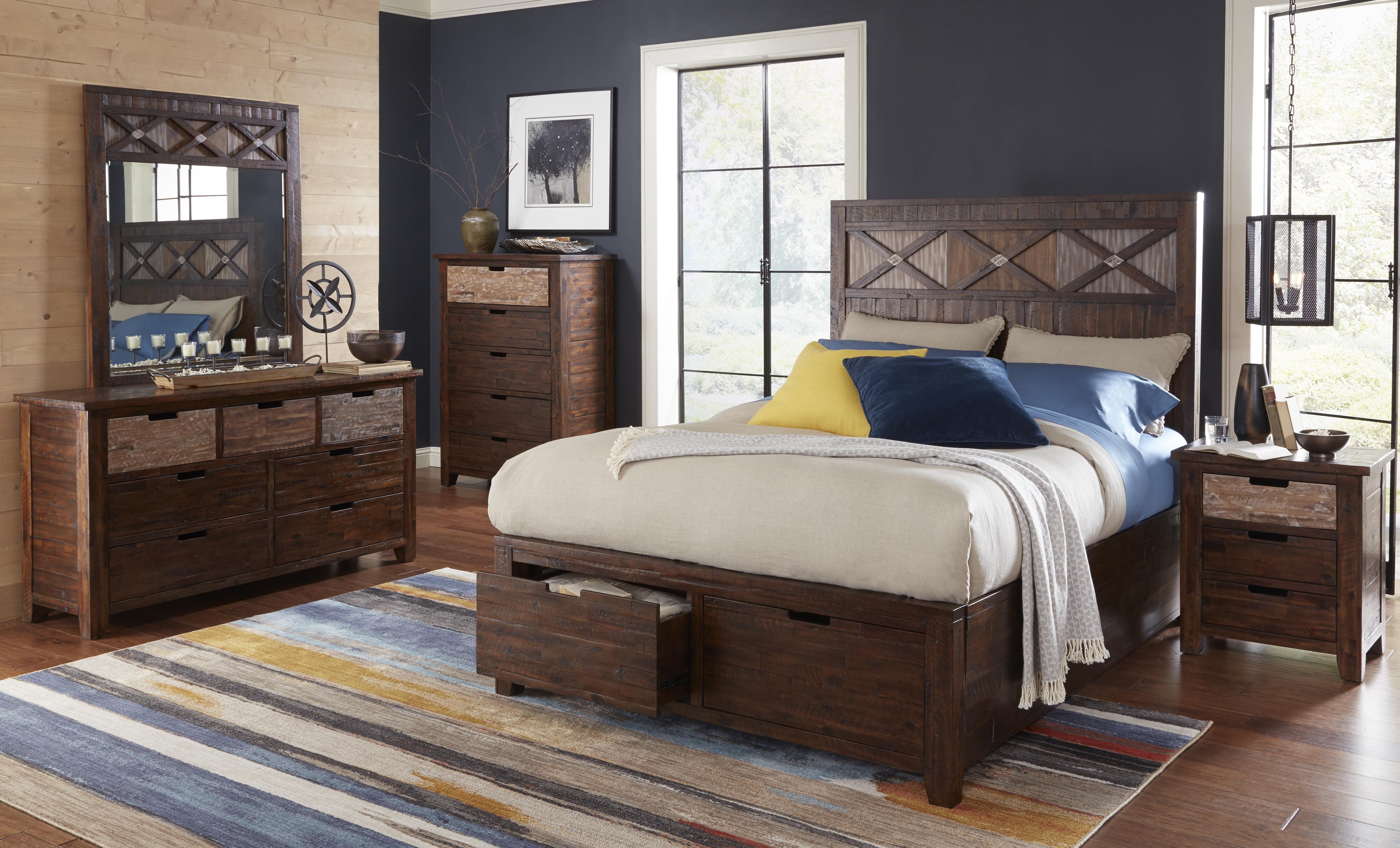 Jofran Furniture Painted Canyon 2pc Bedroom Set With Queen Storage Bed The Classy Home