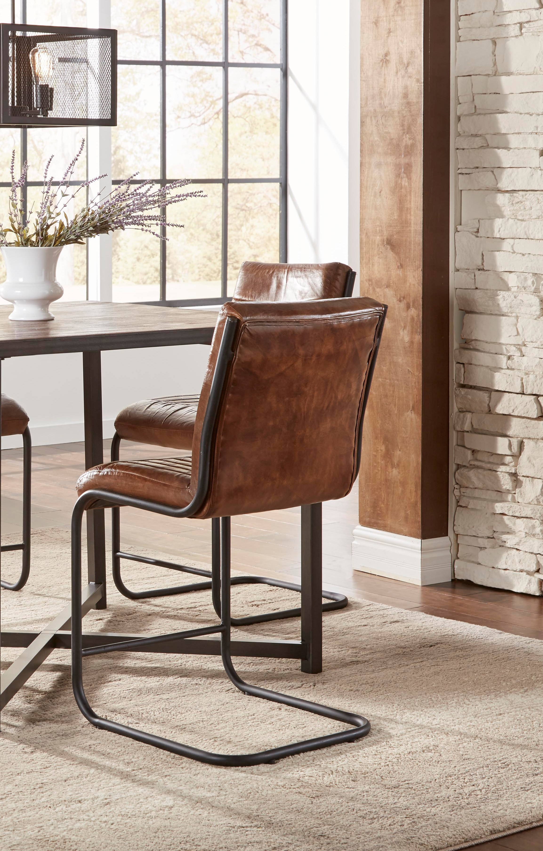Surprising 2 Jofran Furniture Aviator Brown Black Leather Counter Height Stools Machost Co Dining Chair Design Ideas Machostcouk