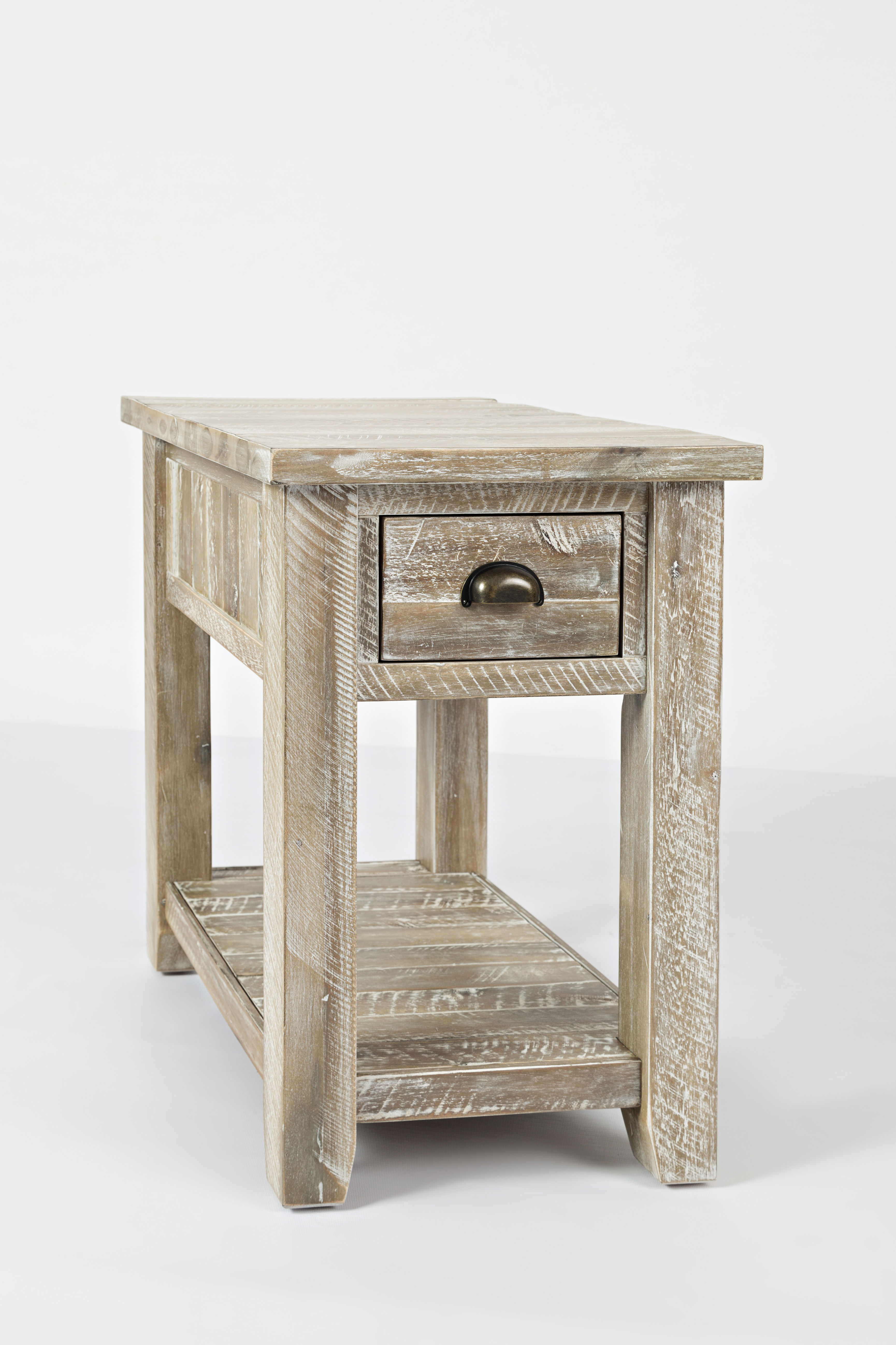 Jofran Furniture Artisans Craft Washed Grey Chairside Table The Classy Home