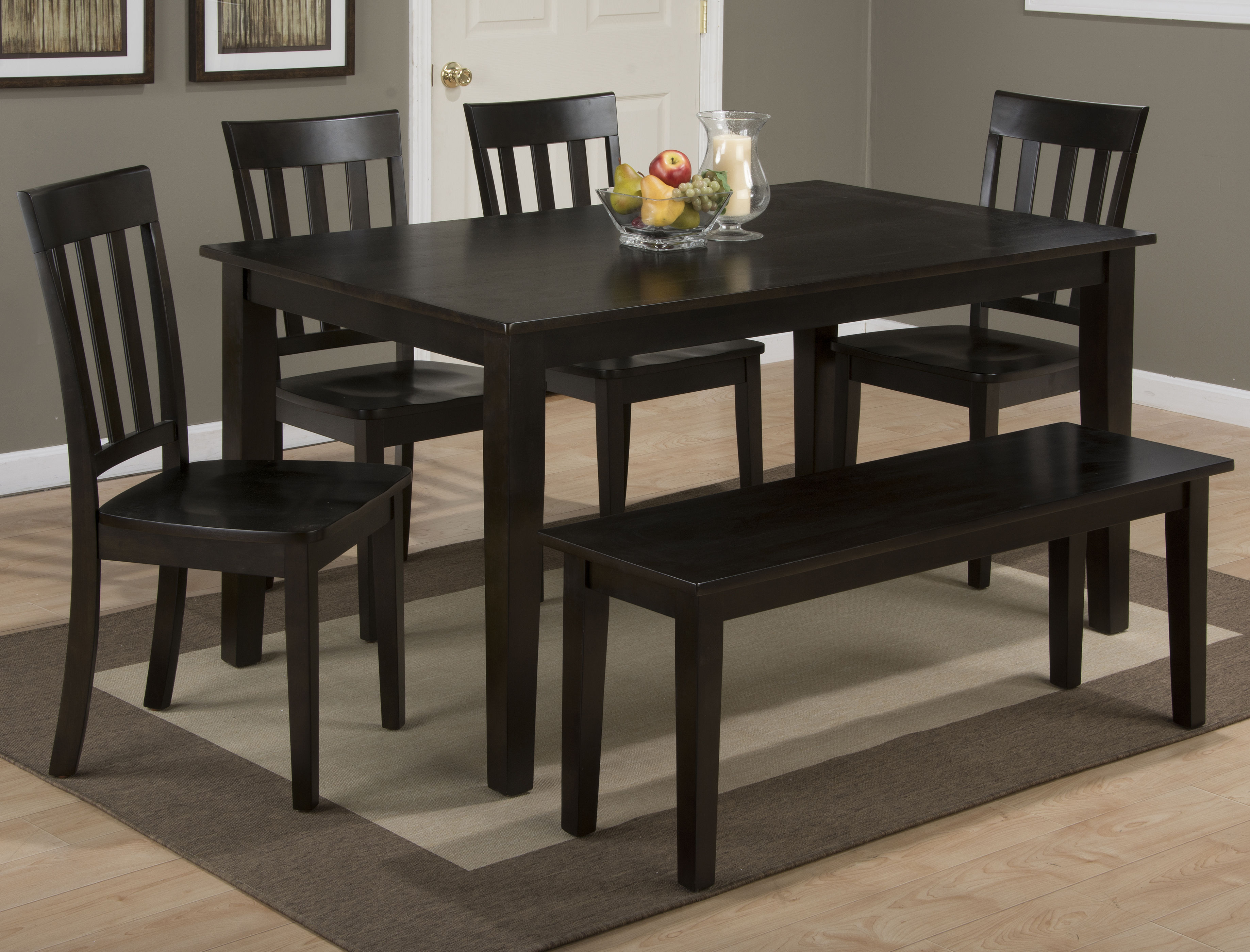 espresso wood rectangle 6pc dining room set kitchen