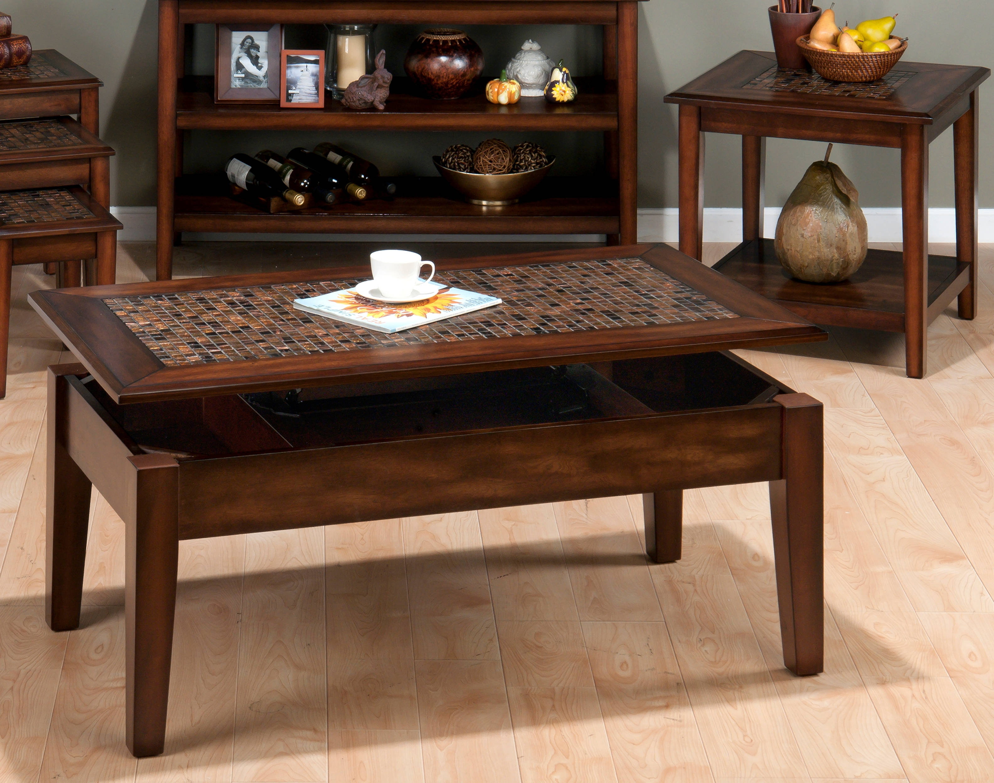 Jofran Furniture Baroque Brown 3pc Lift Top Coffee Table Set