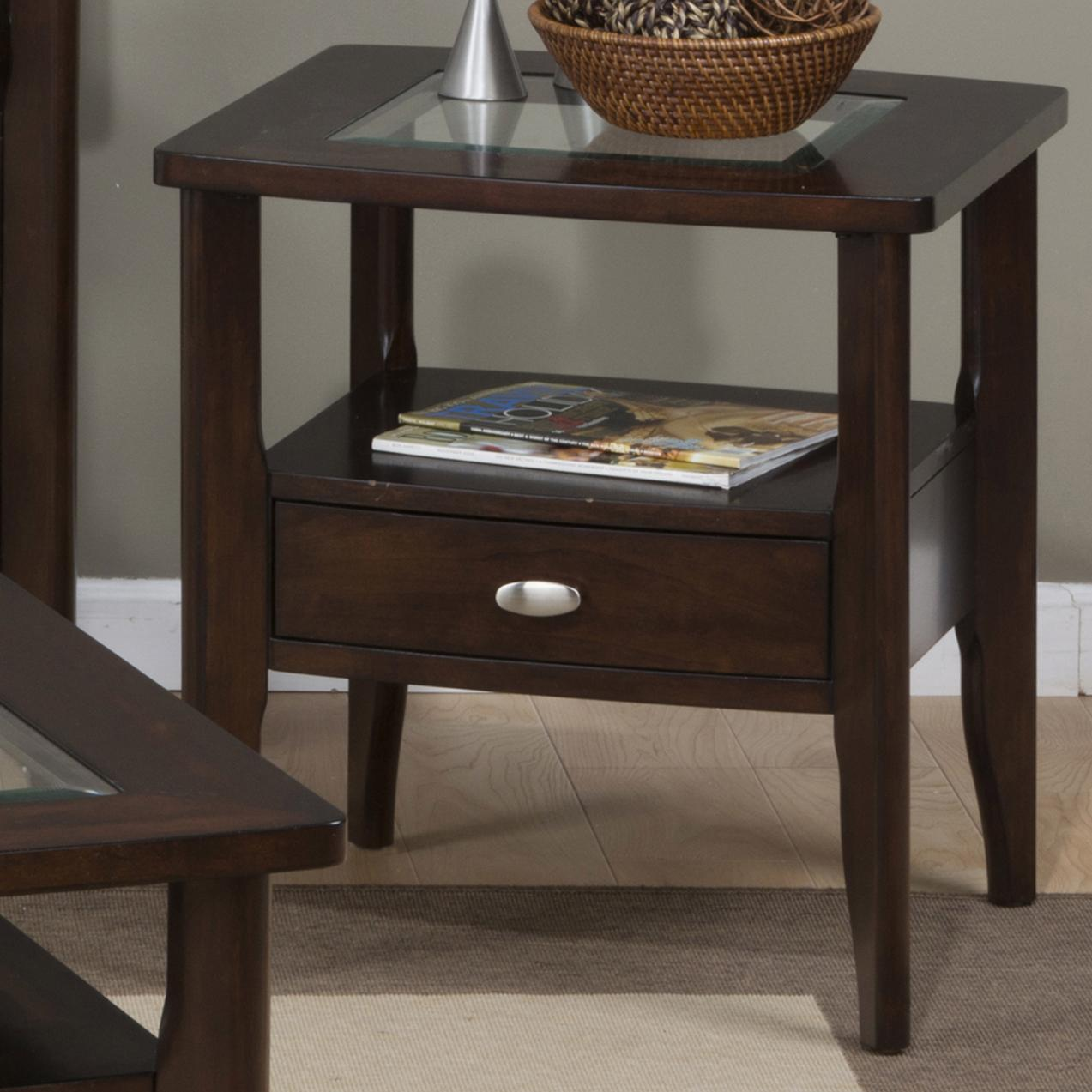 Rollins Console Table: Montego Contemporary Merlot Wood Square End Table W/Drawer