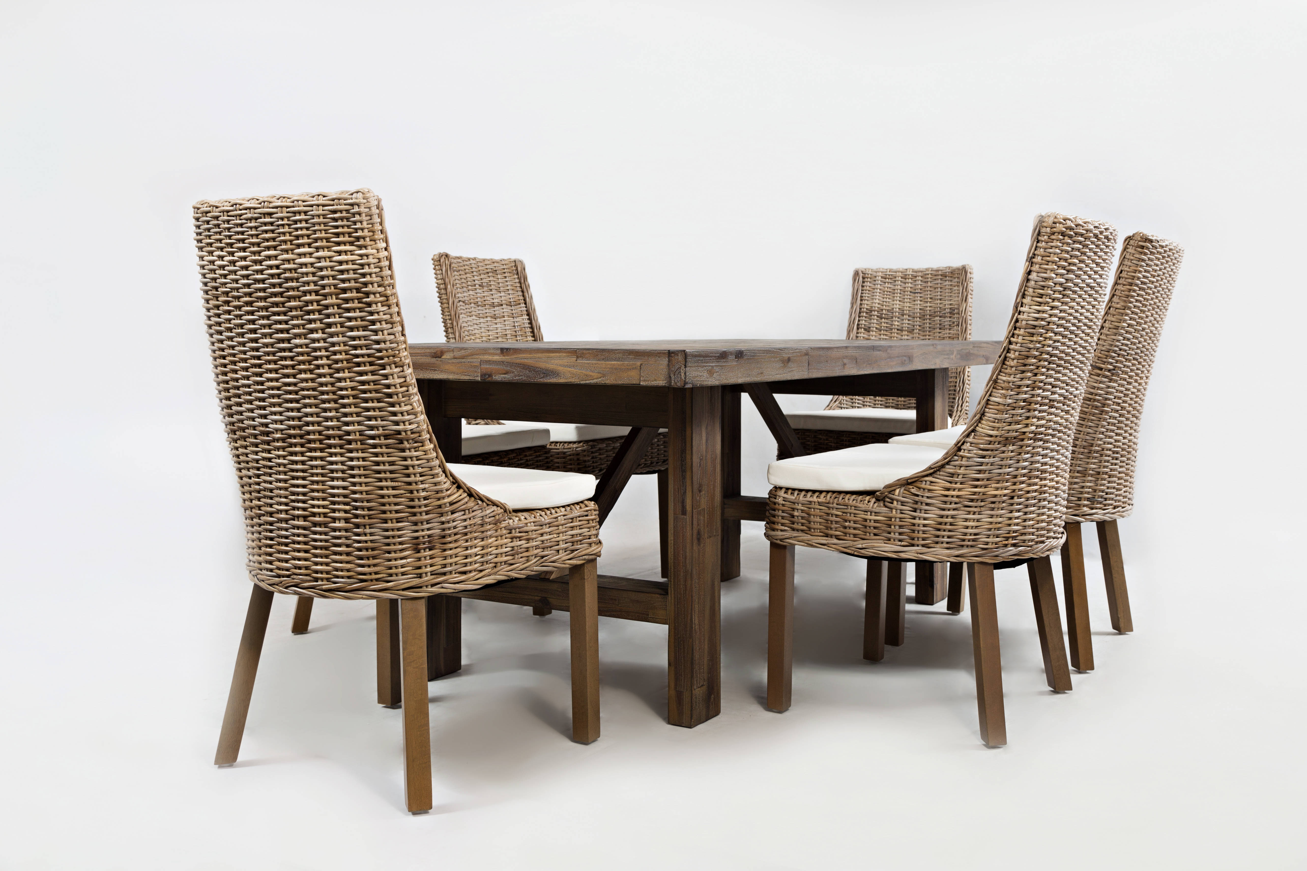 hampton road coastal wood 7pc trestle dining room set w