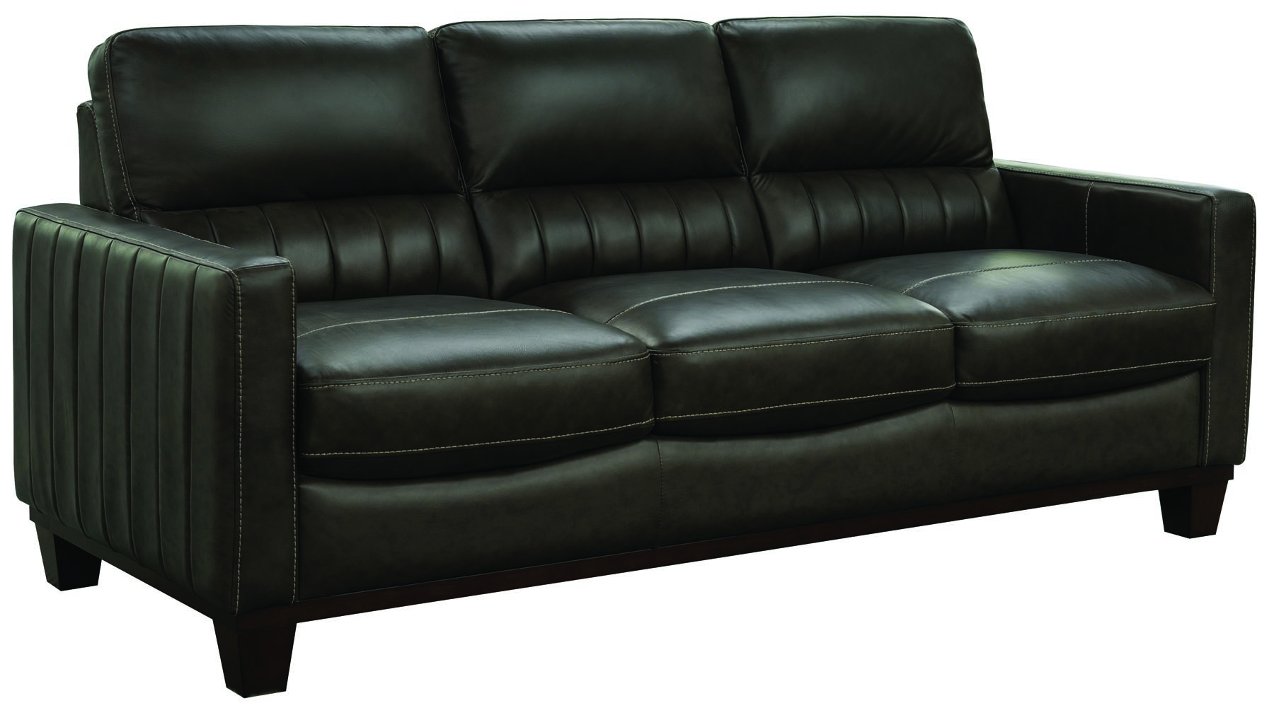 Furniture Chevy Black Leather Sofa