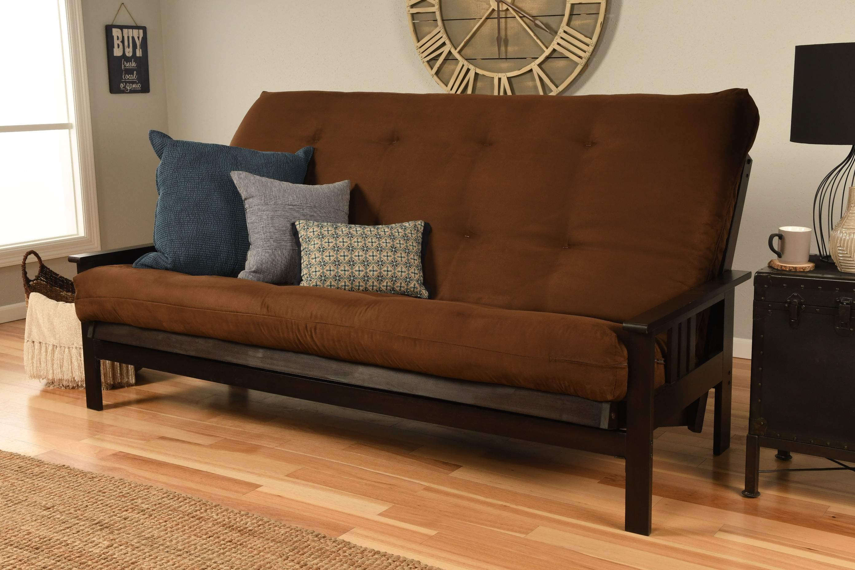 Kodiak furniture monterey espresso frame brown suede mattress queen futon click to enlarge