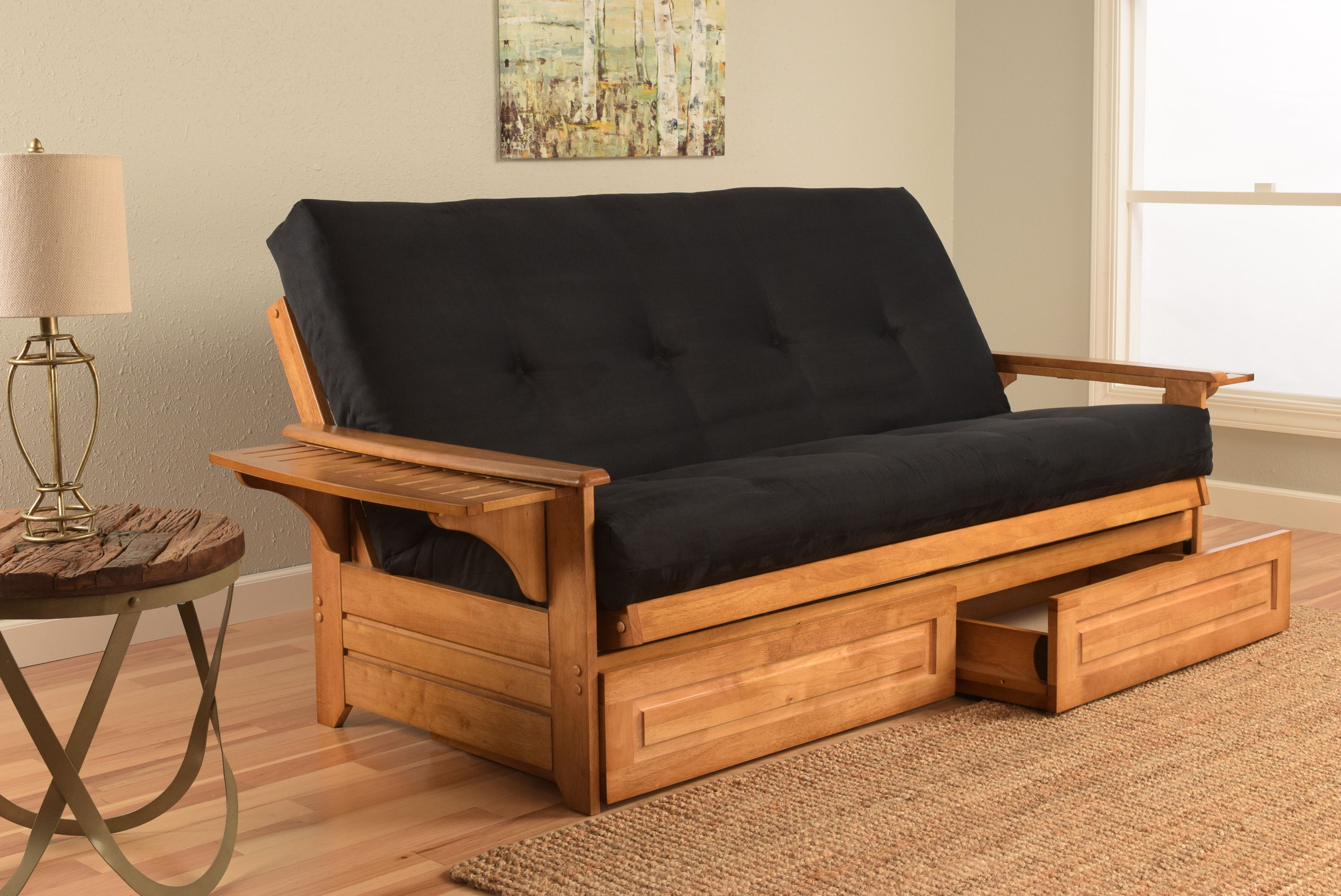 Kodiak Furniture Phoenix Ernut Frame Black Suede Mattress Futon With Drawer