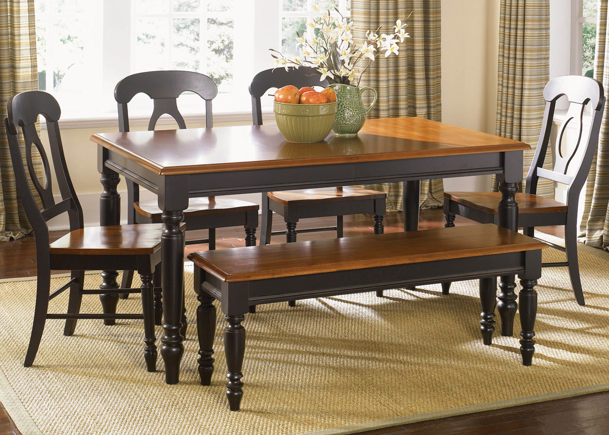 Liberty Low Country Black 6pc Dining Room Set with Bench