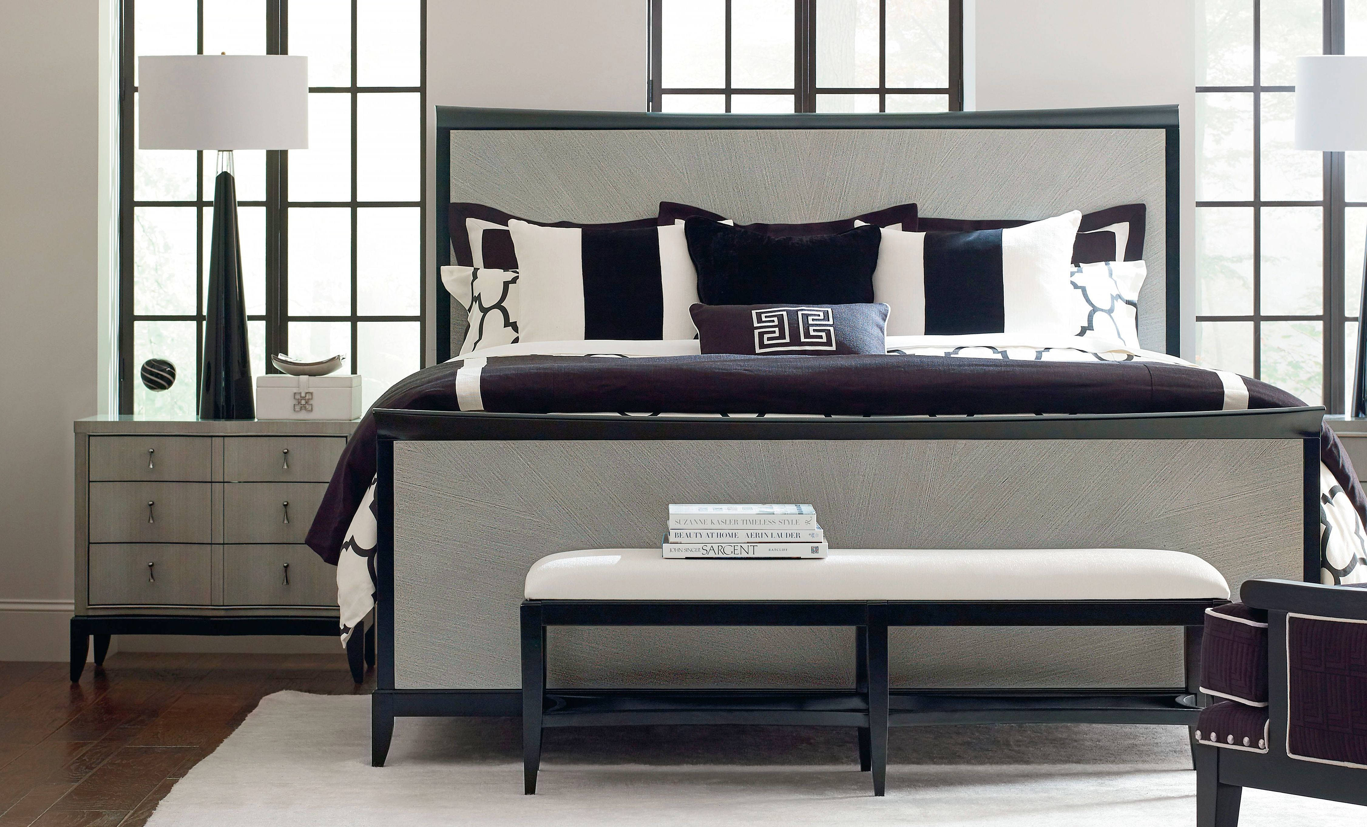 Legacy Furniture Symphony Platinum Black Tie 2pc Bedroom Set With Cal King Panel Bed