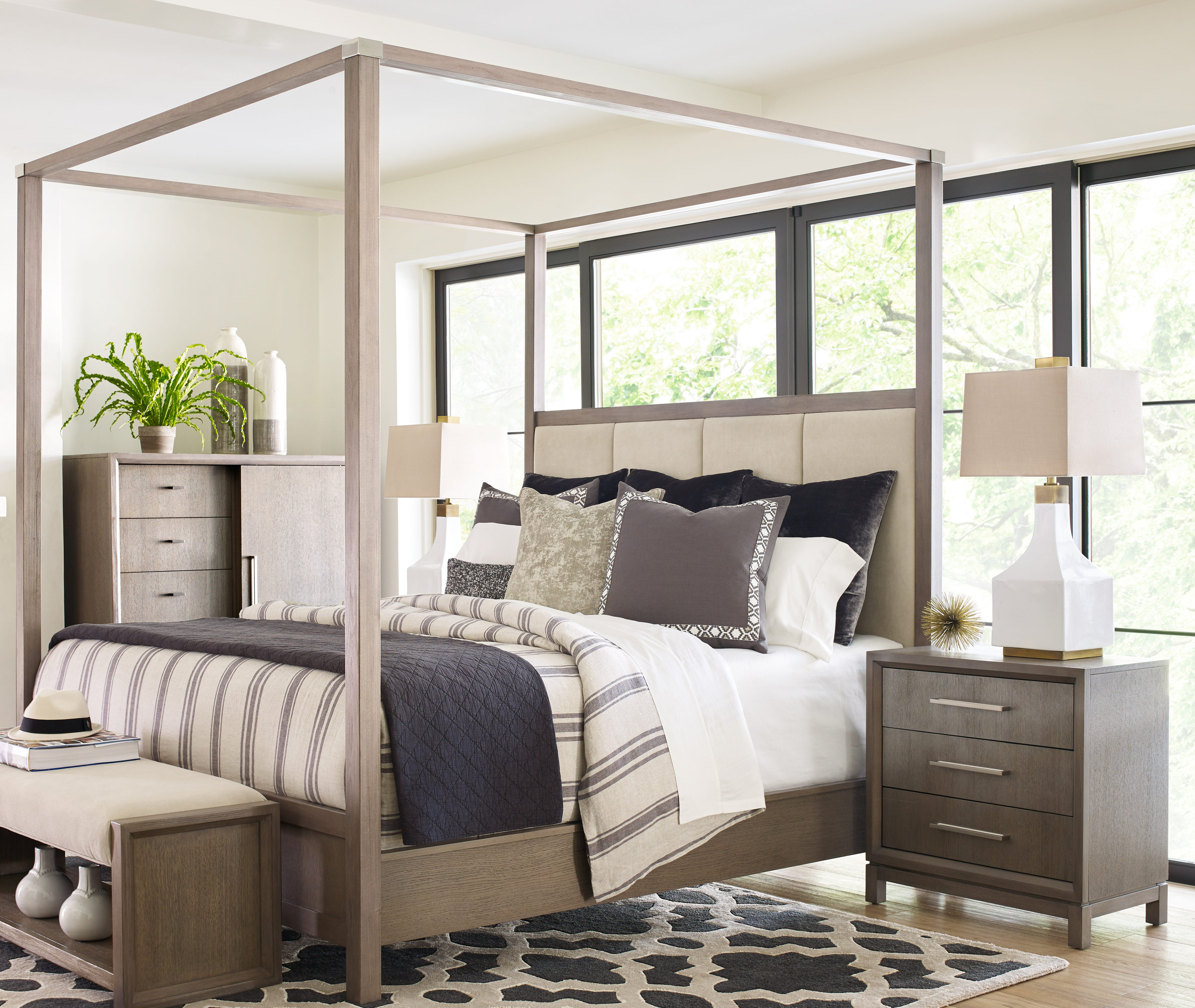 Legacy Furniture Highline by Rachael Ray Ivory Greige 2pc Bedroom Set with  Queen Poster Canopy Bed