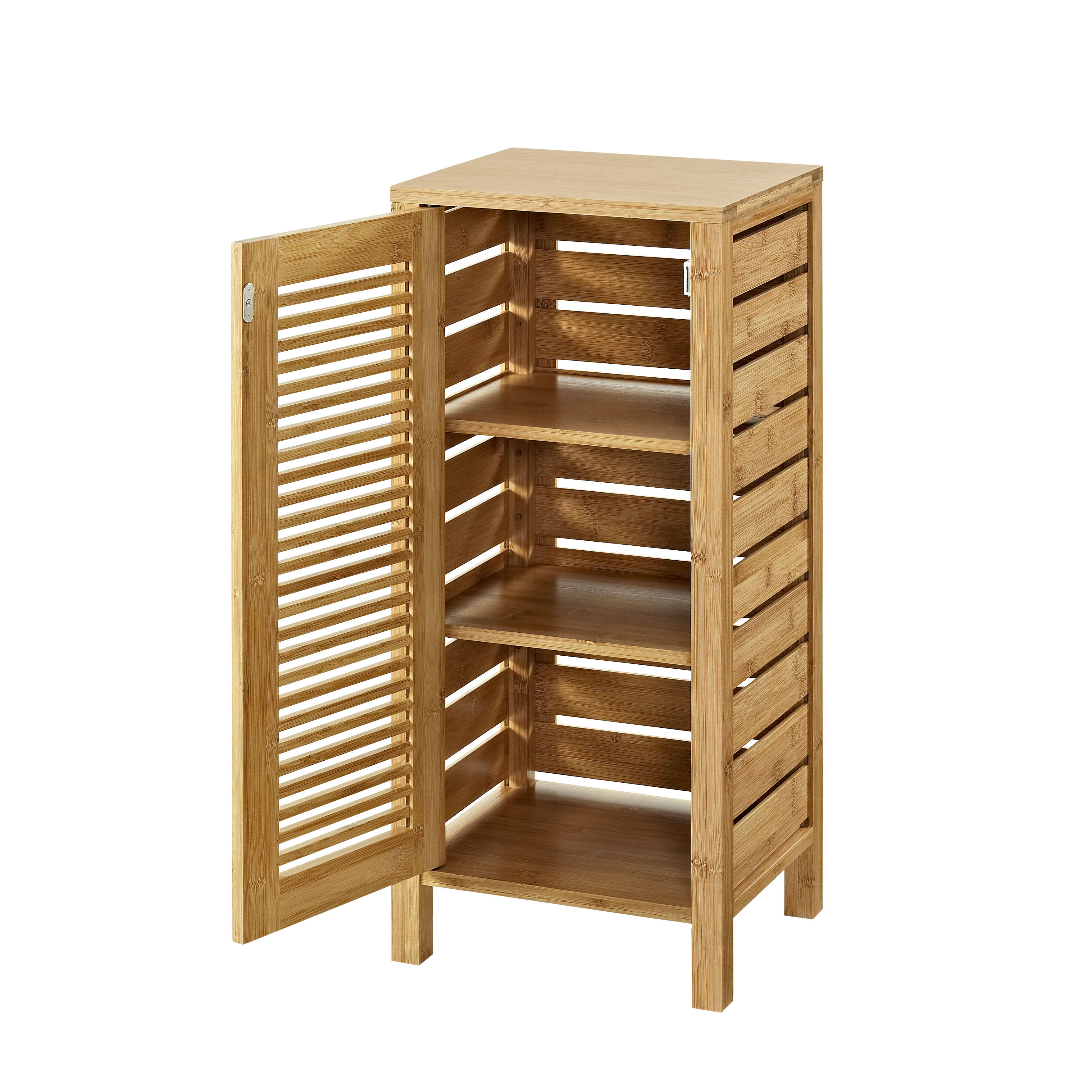 Linon Bracken Natural Bamboo One Door Floor Cabinet | The Classy Home