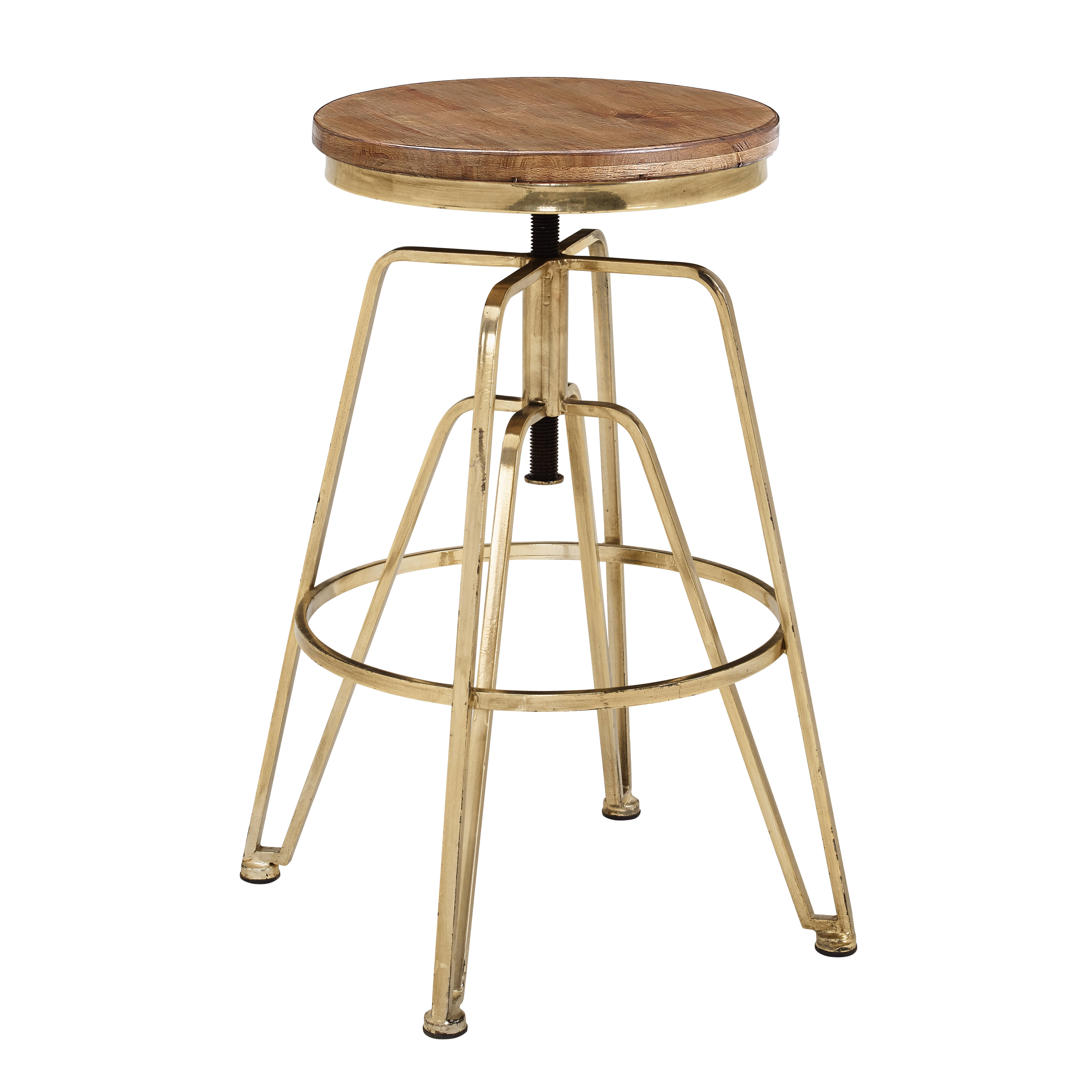 Wooden Revolving Stool Light Brown Swivel Bar Pub Chair: Linon Brown Gold Wood And Metal Adjustable Stool