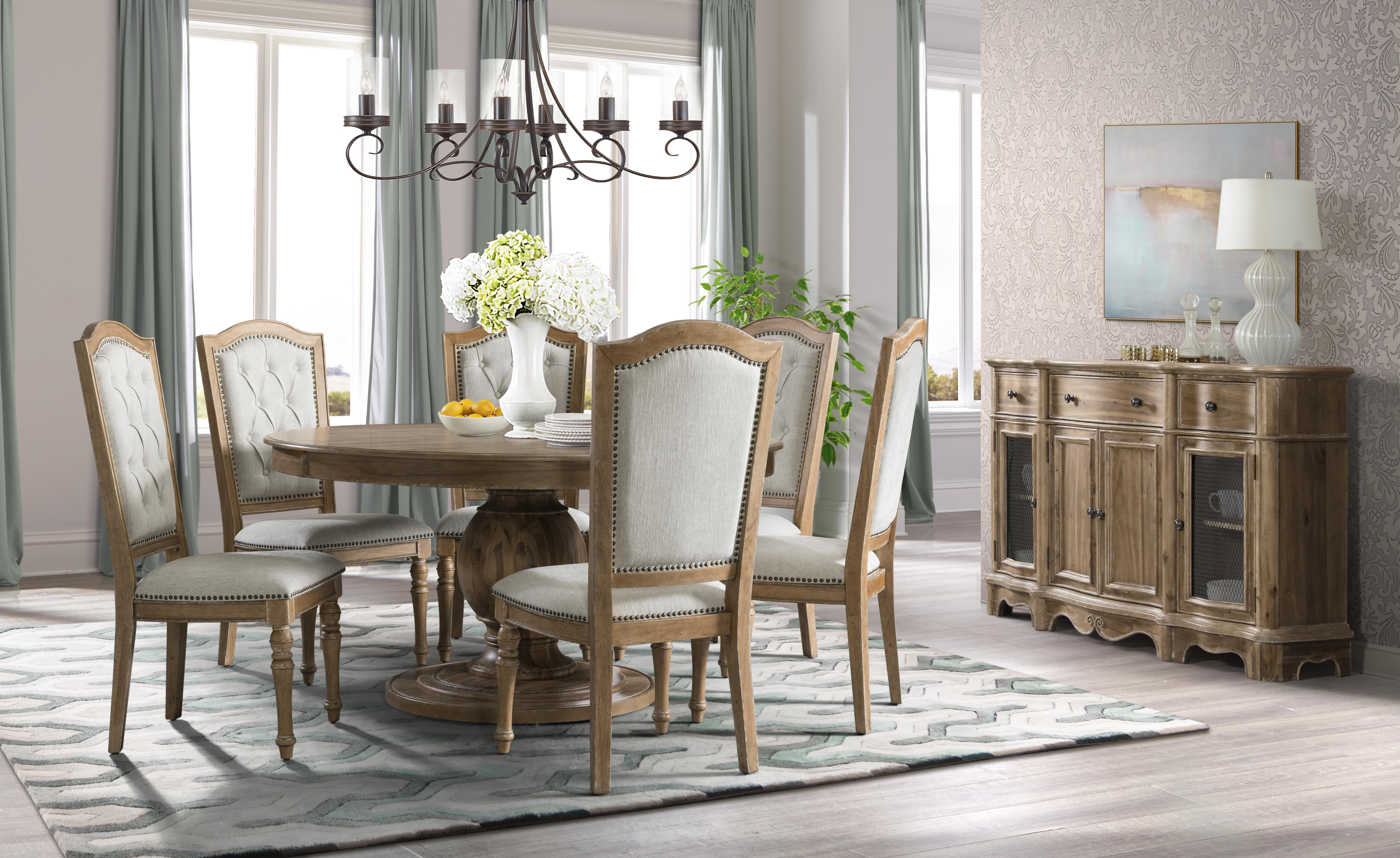 Wheat 7pc Round Dining Table Set