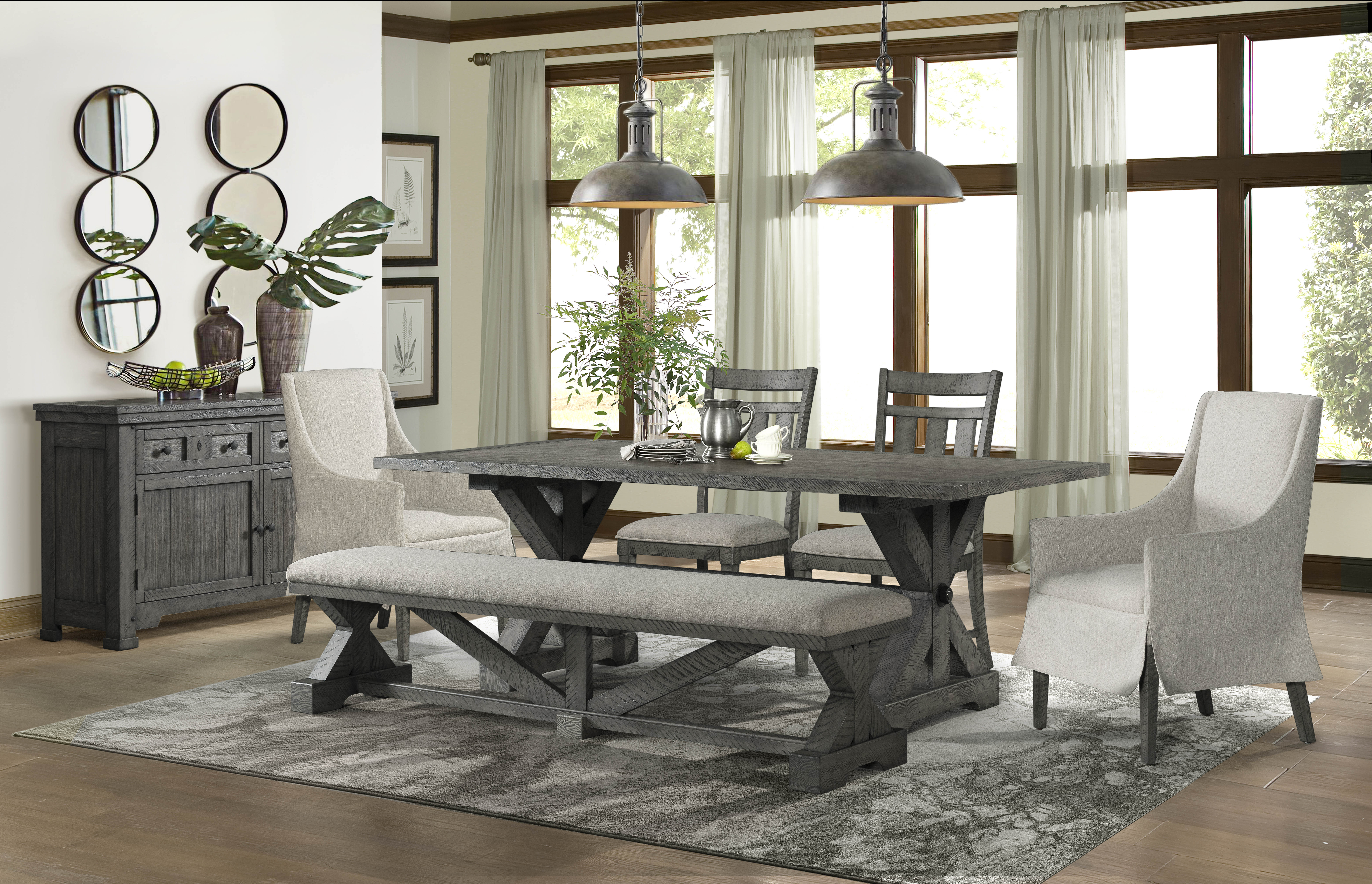 Lane Furniture Old Forge Grey 6pc Dining Room Set with Host Chair