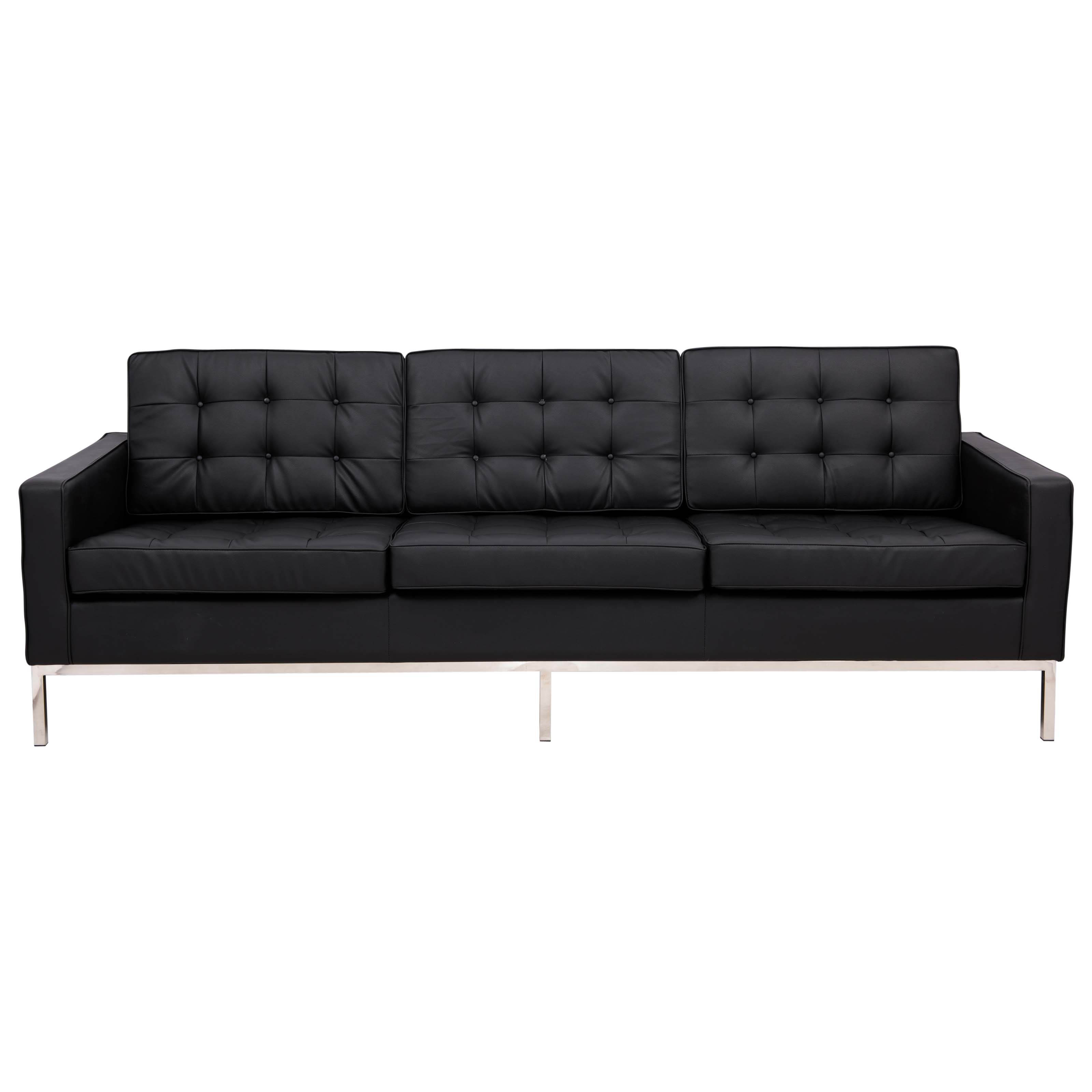 LeisureMod Florence Black Faux Leather Sofa