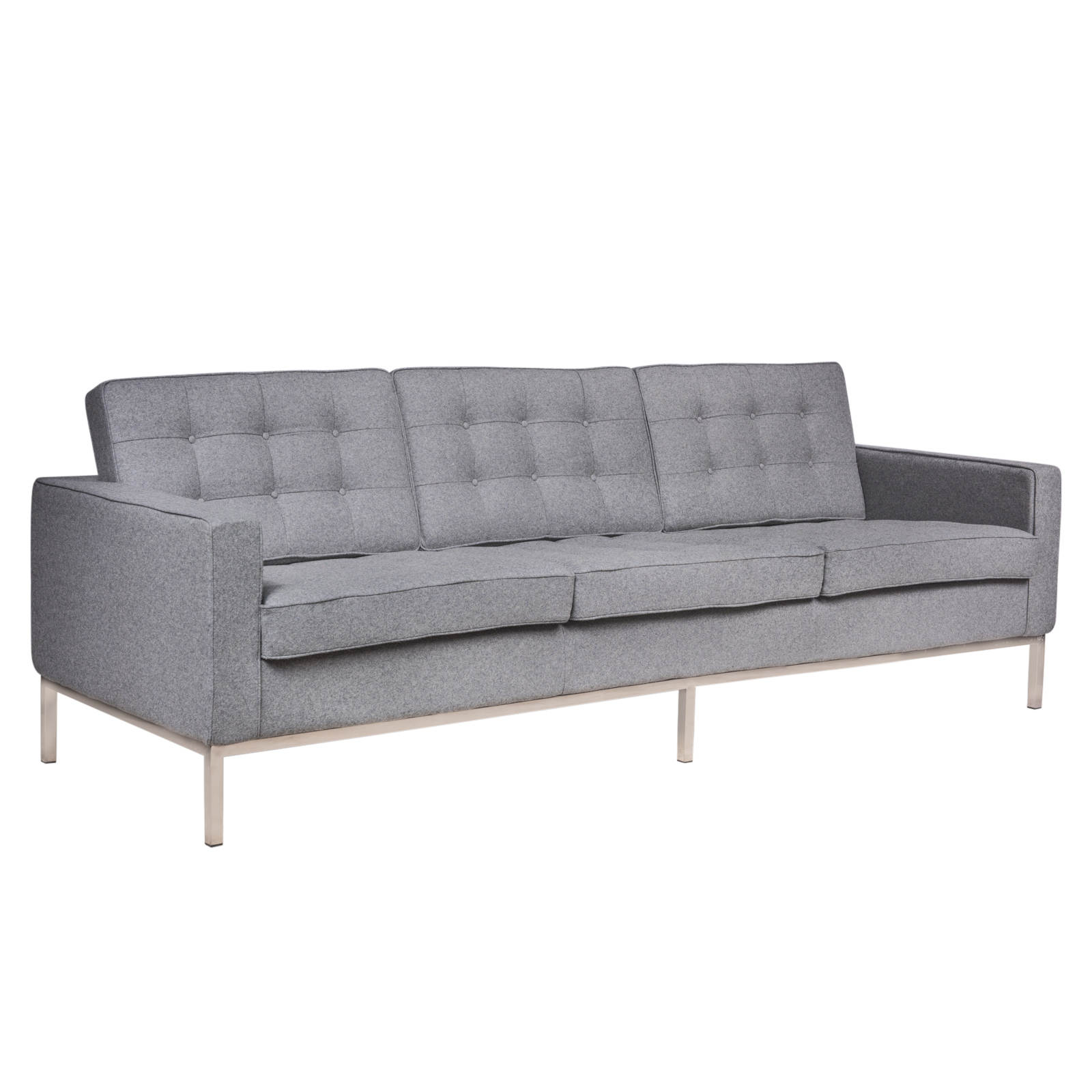 Leisuremod Florence Light Grey Fabric Sofa Click To Enlarge