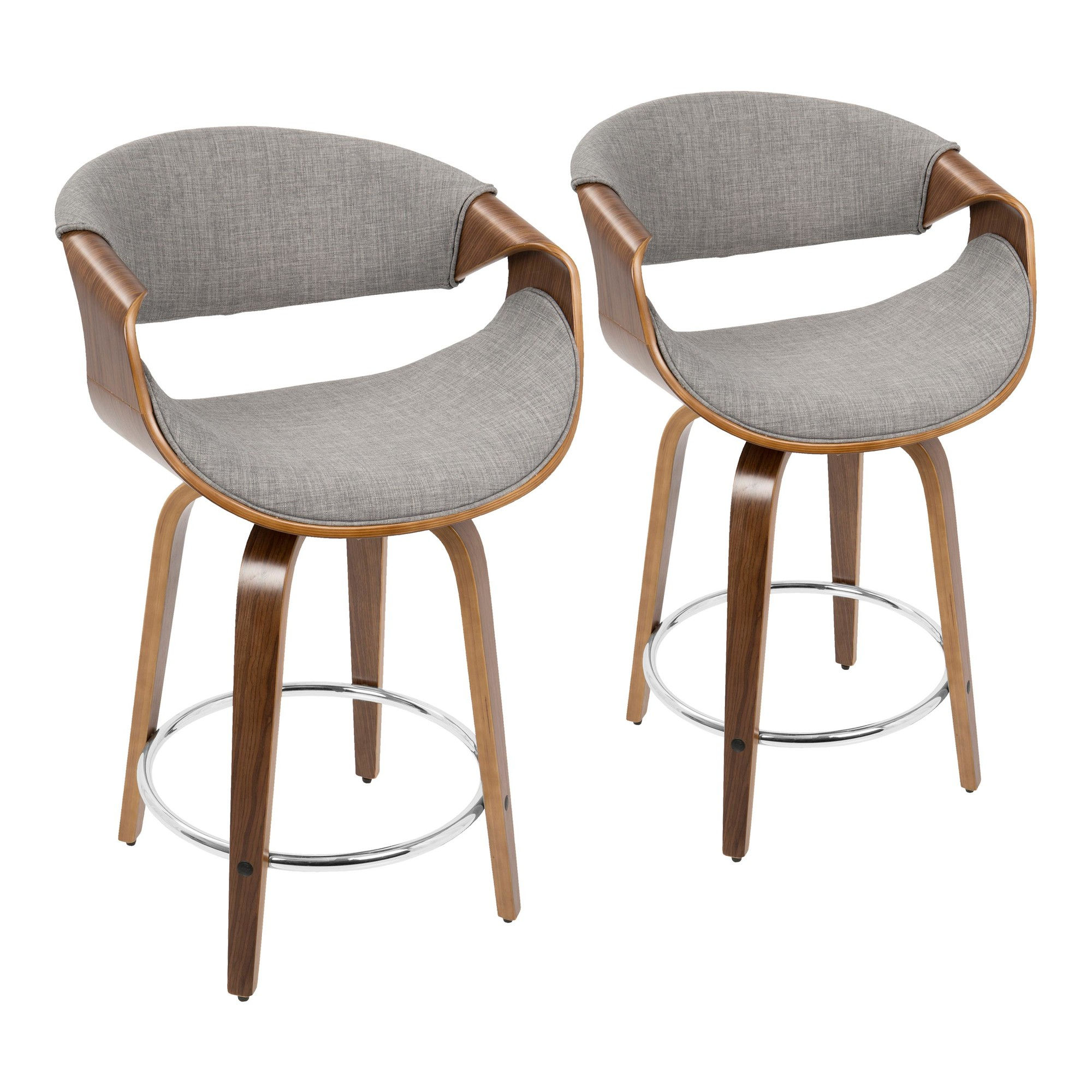 Amazing 2 Lumisource Curvo Walnut Light Grey Fabric 24 Inch Counter Stools Caraccident5 Cool Chair Designs And Ideas Caraccident5Info