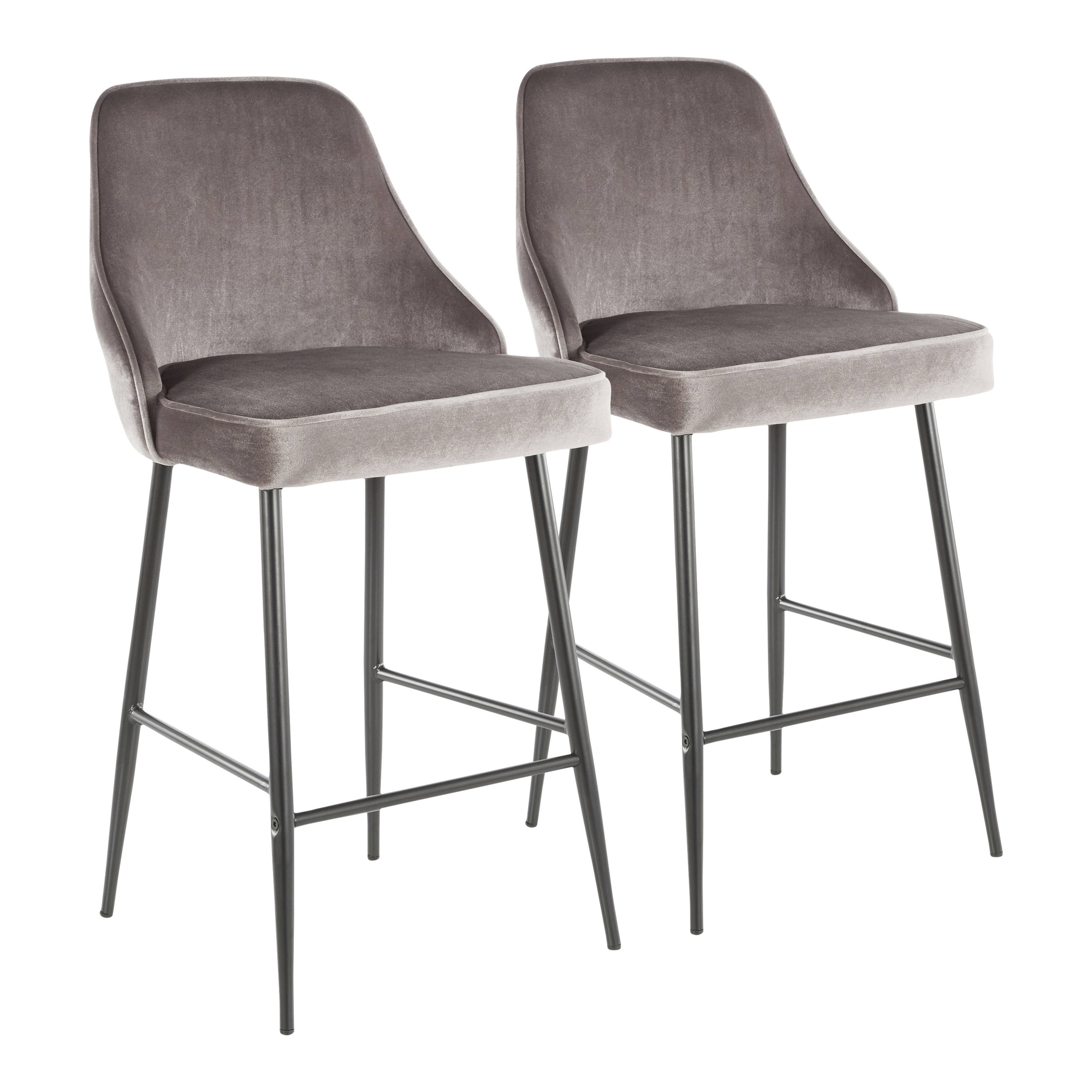 Peachy 2 Lumisource Marcel Black Silver Counter Stools Alphanode Cool Chair Designs And Ideas Alphanodeonline