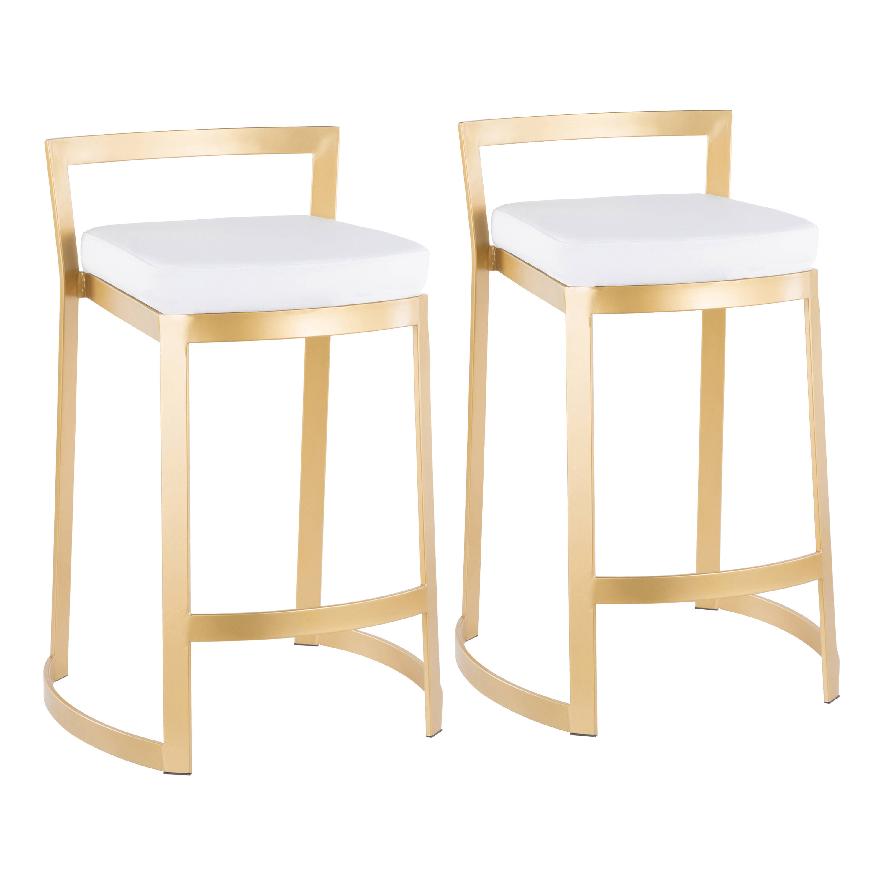 Tremendous 2 Lumisource Fuji Gold White Leather Counter Stools Theyellowbook Wood Chair Design Ideas Theyellowbookinfo