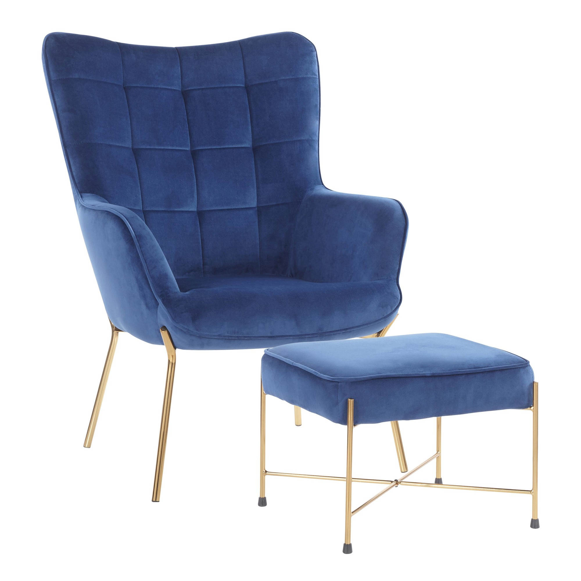 Fantastic Lumisource Izzy Gold Blue Velvet Fabric Lounge Chair And Ottoman Set Uwap Interior Chair Design Uwaporg