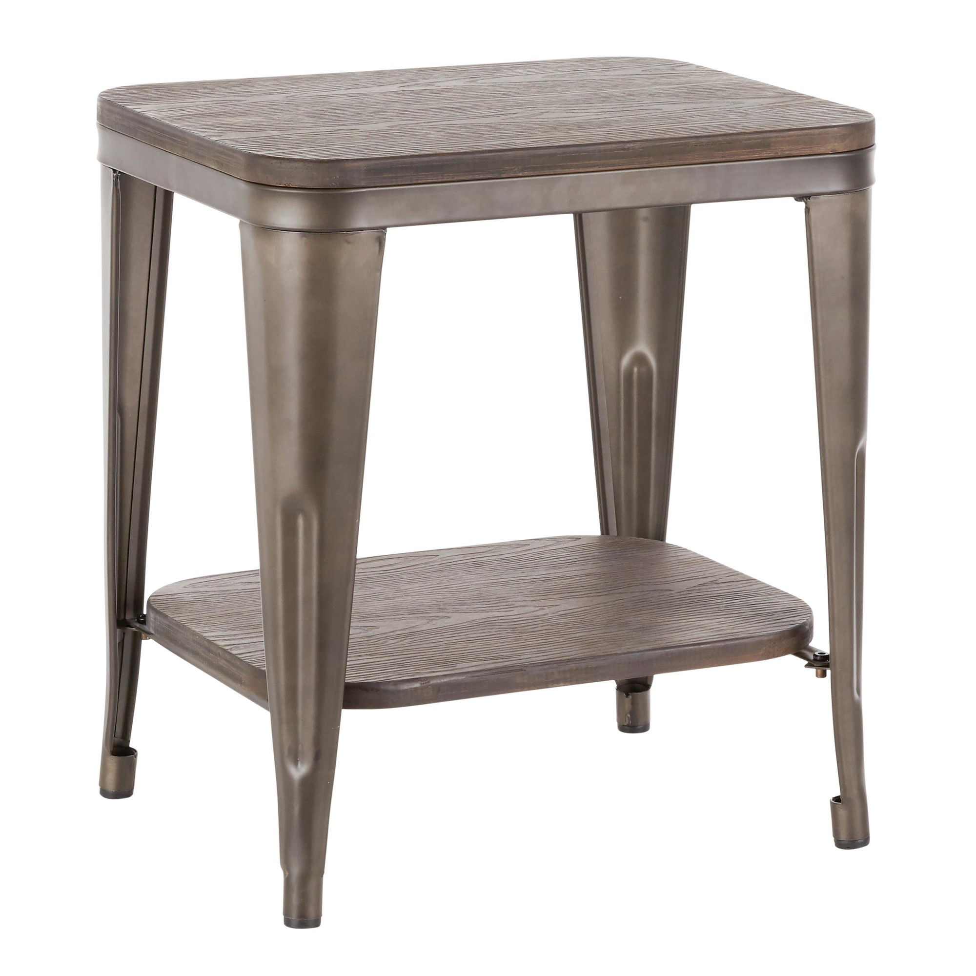 Lumisource Oregon Antique Espresso Bamboo End Table