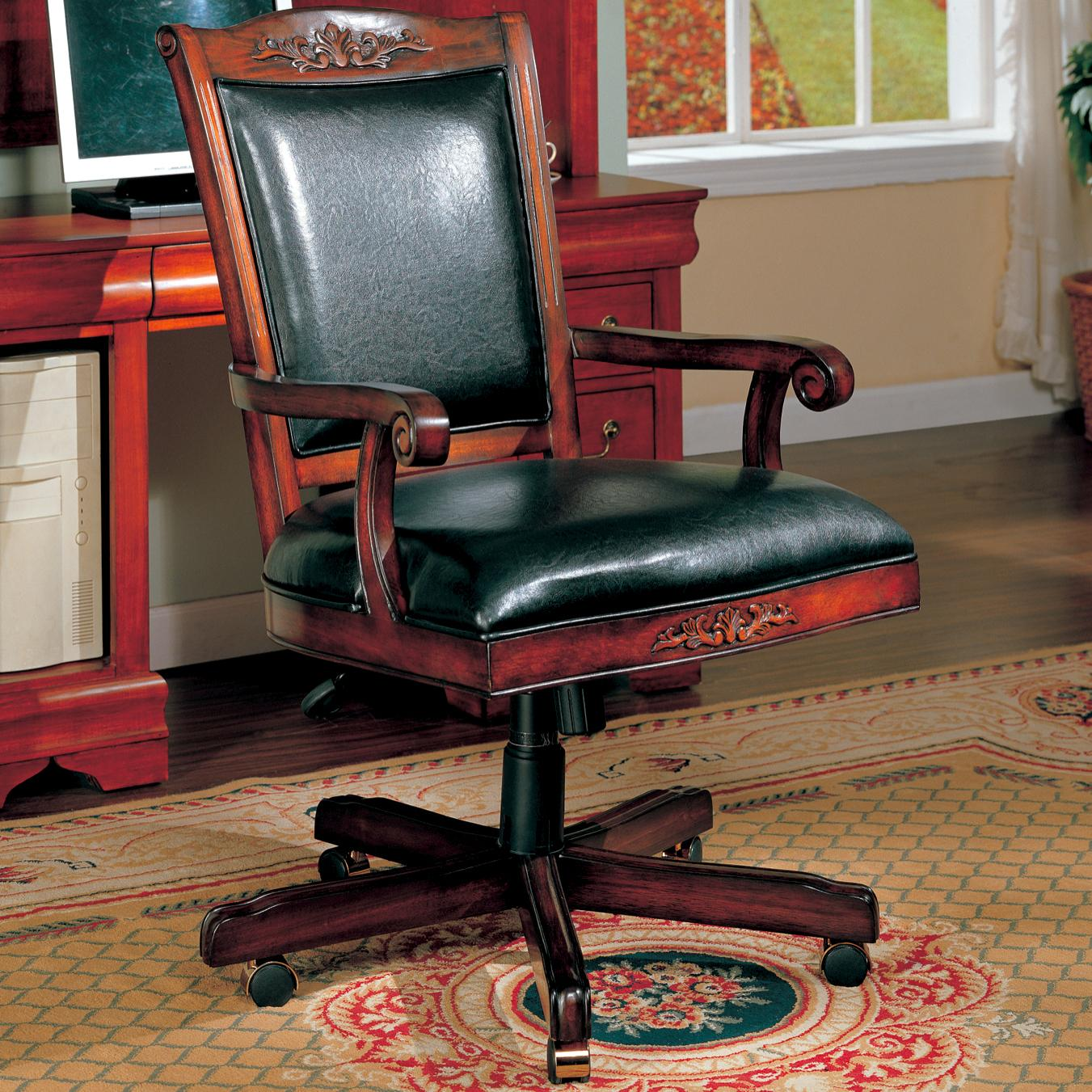 Traditional Black Vinyl Office Chair Click To Enlarge ... & Traditional Black Vinyl Office Chair | The Classy Home