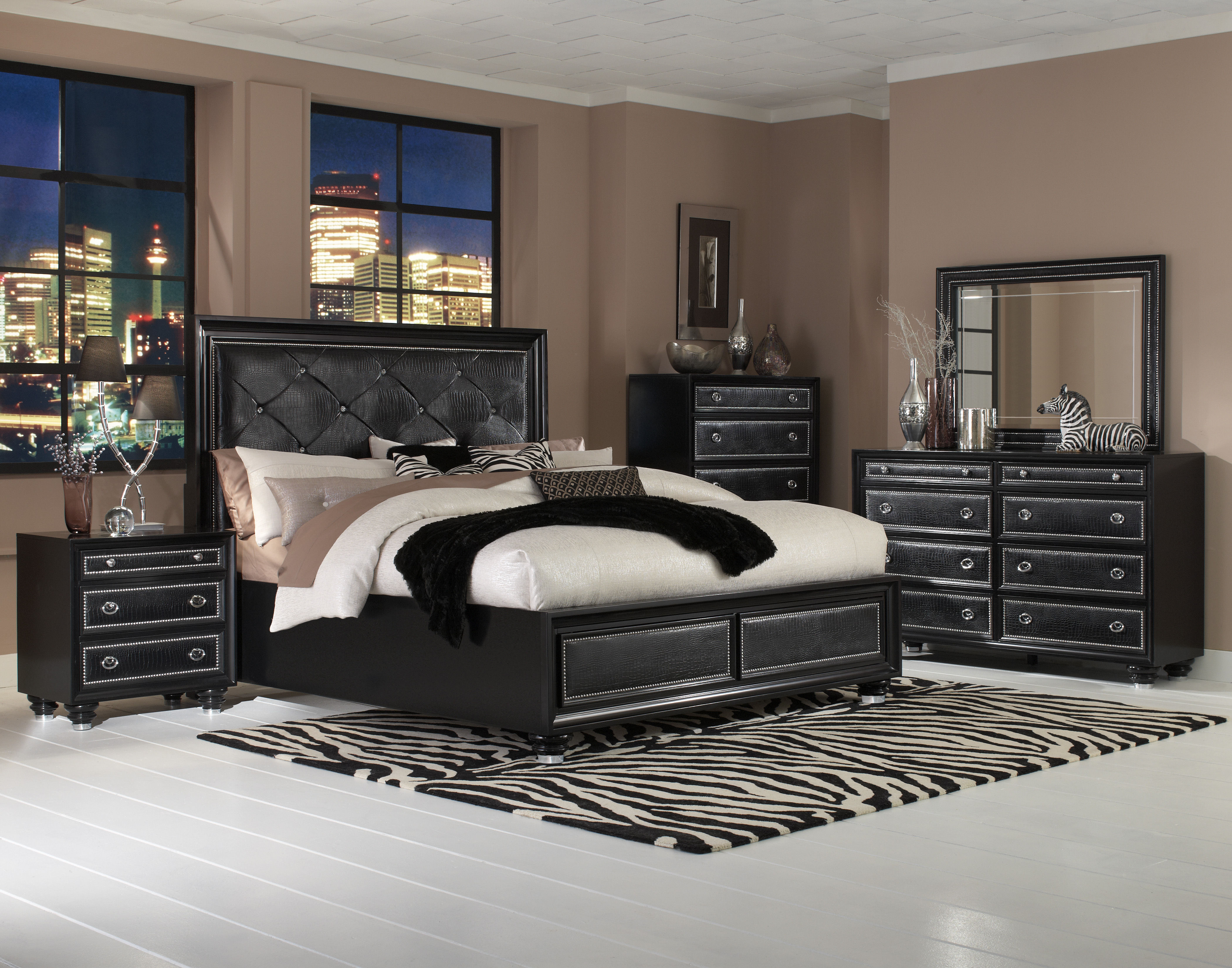 Onyx casual black wood pvc master bedroom set the classy - Black and wood bedroom furniture ...