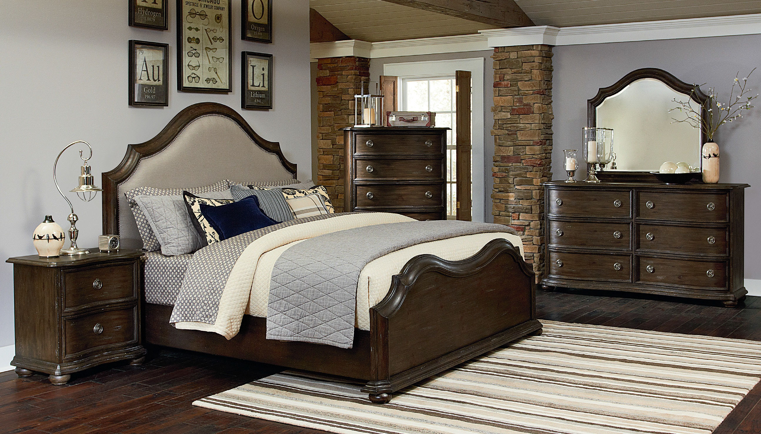 Muirfield traditional distressed natural pine wood master - Distressed wood bedroom furniture ...