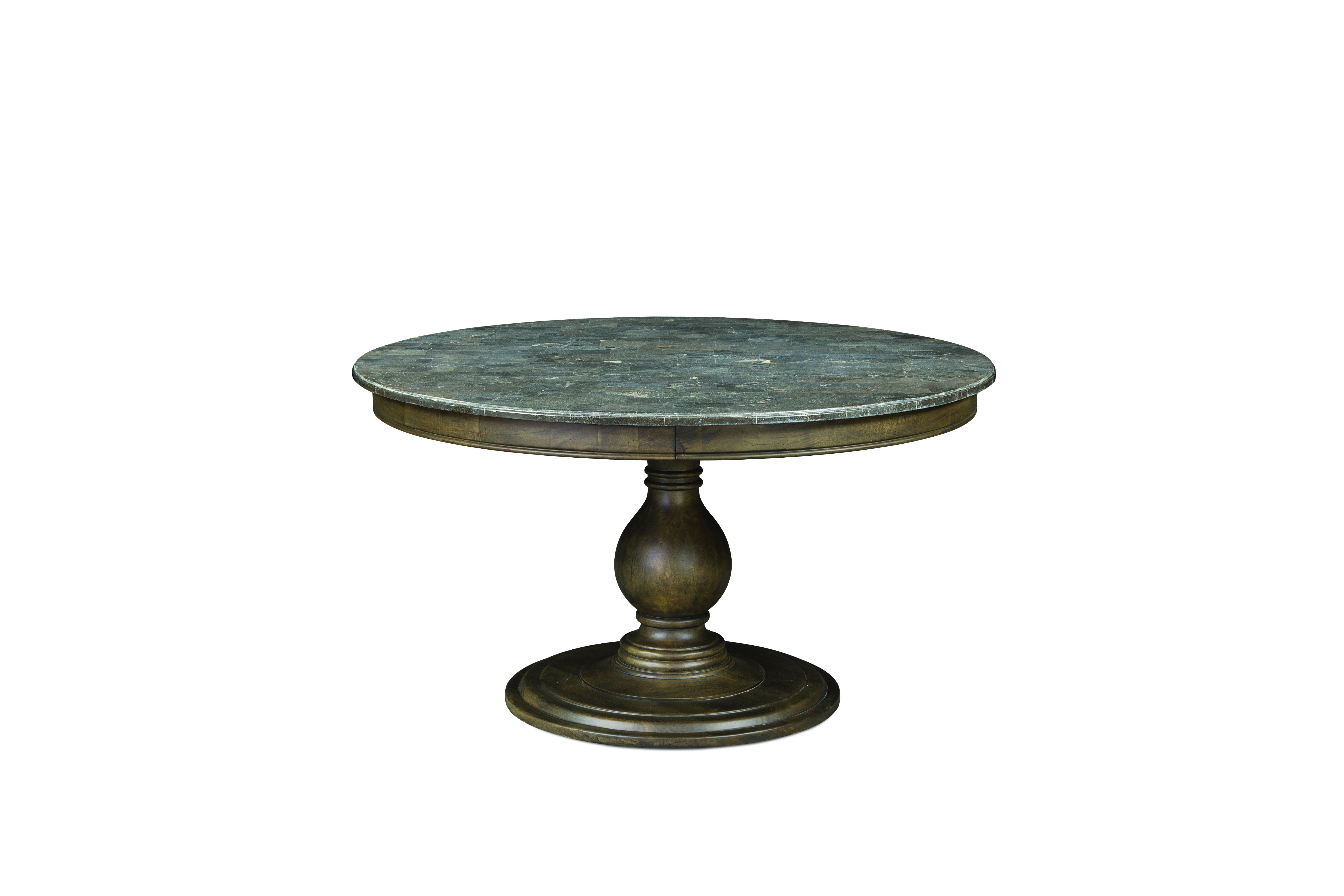 Karlin transitional wood round dining table bluestone for Dining table deals