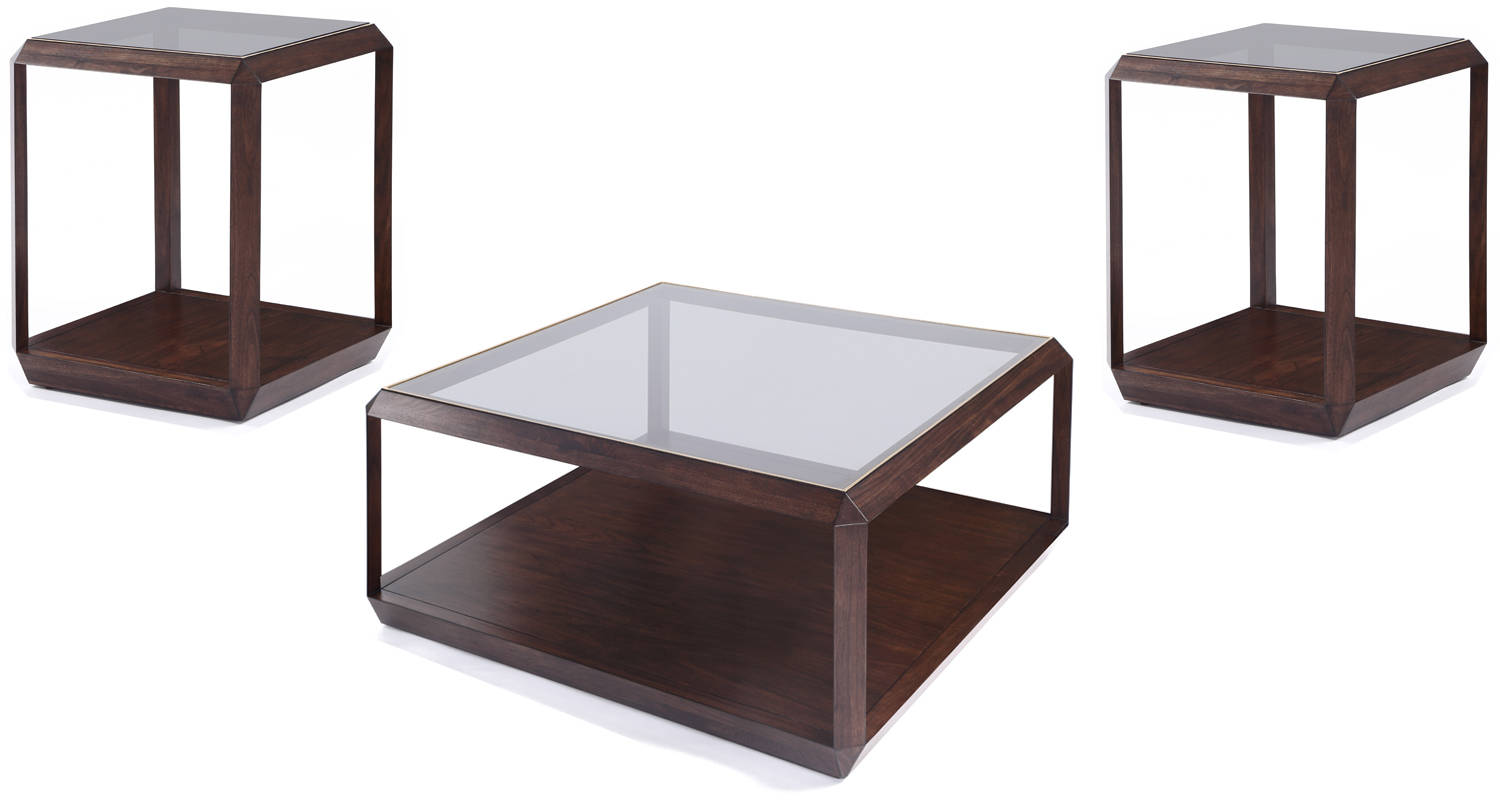 Hartmann Modern Walnut Wood Glass Square 3pc Coffee Table Set The Classy Home