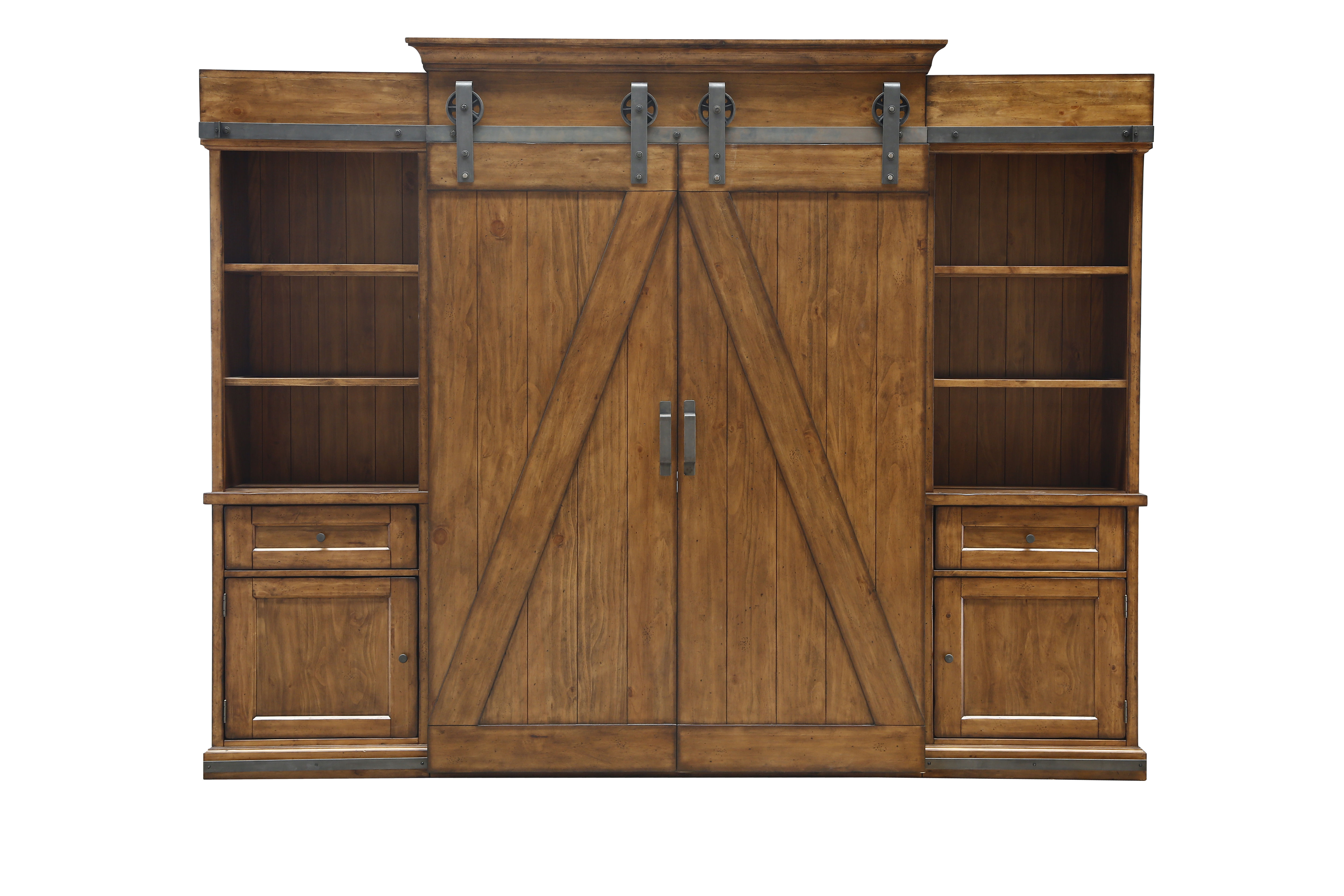 Harper Farm Modern Warm Pine Wood Entertainment Wall Unit