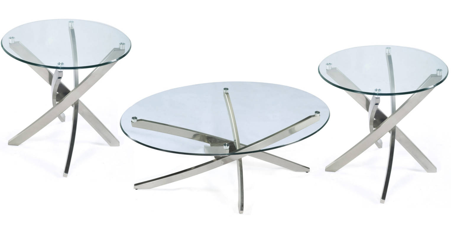Magnussen Home Zila Nickel 3pc Oval Coffee Table Set The Classy Home