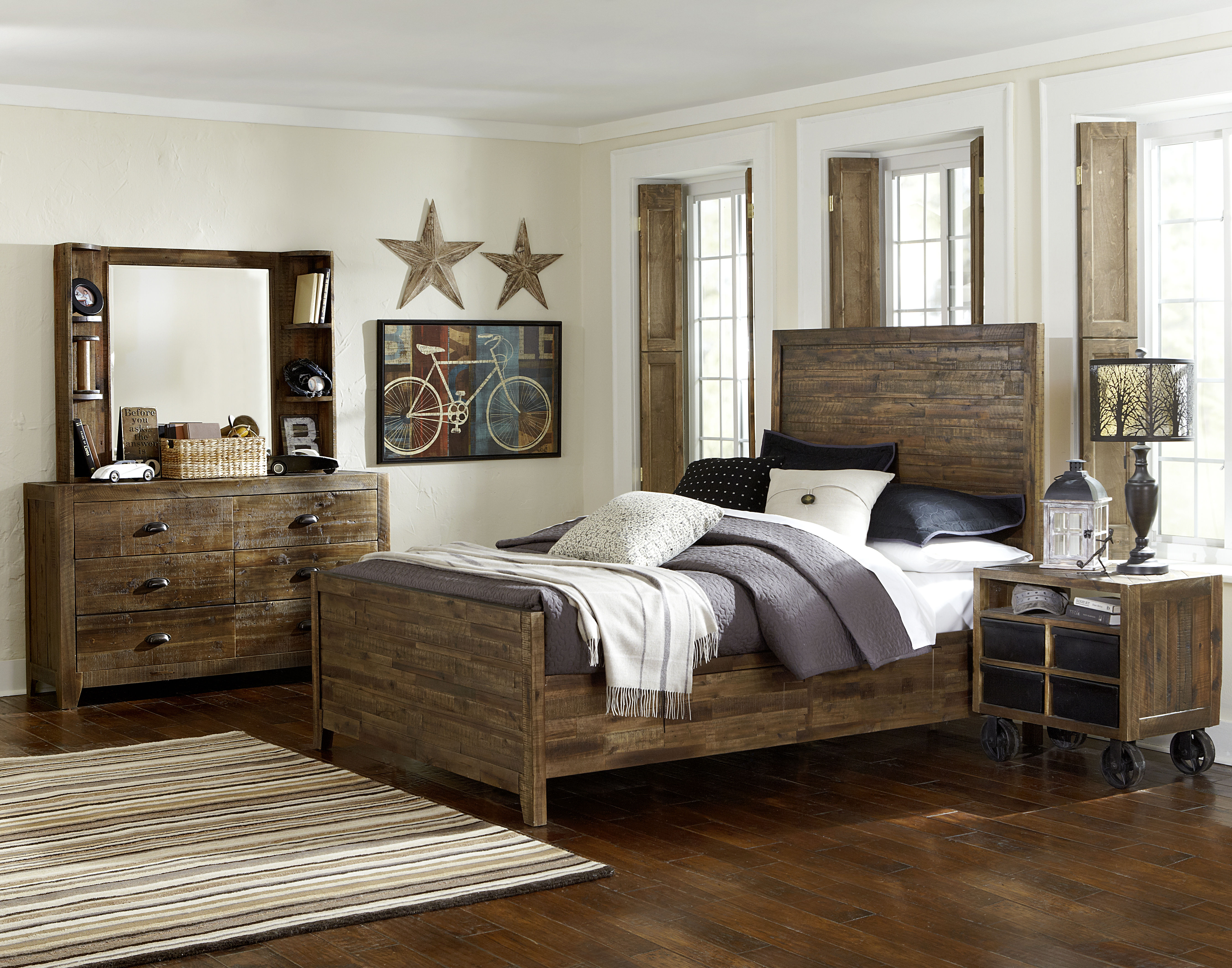 Braxton distressed natural wood glass 2pc bedroom set w - Distressed bedroom furniture sets ...