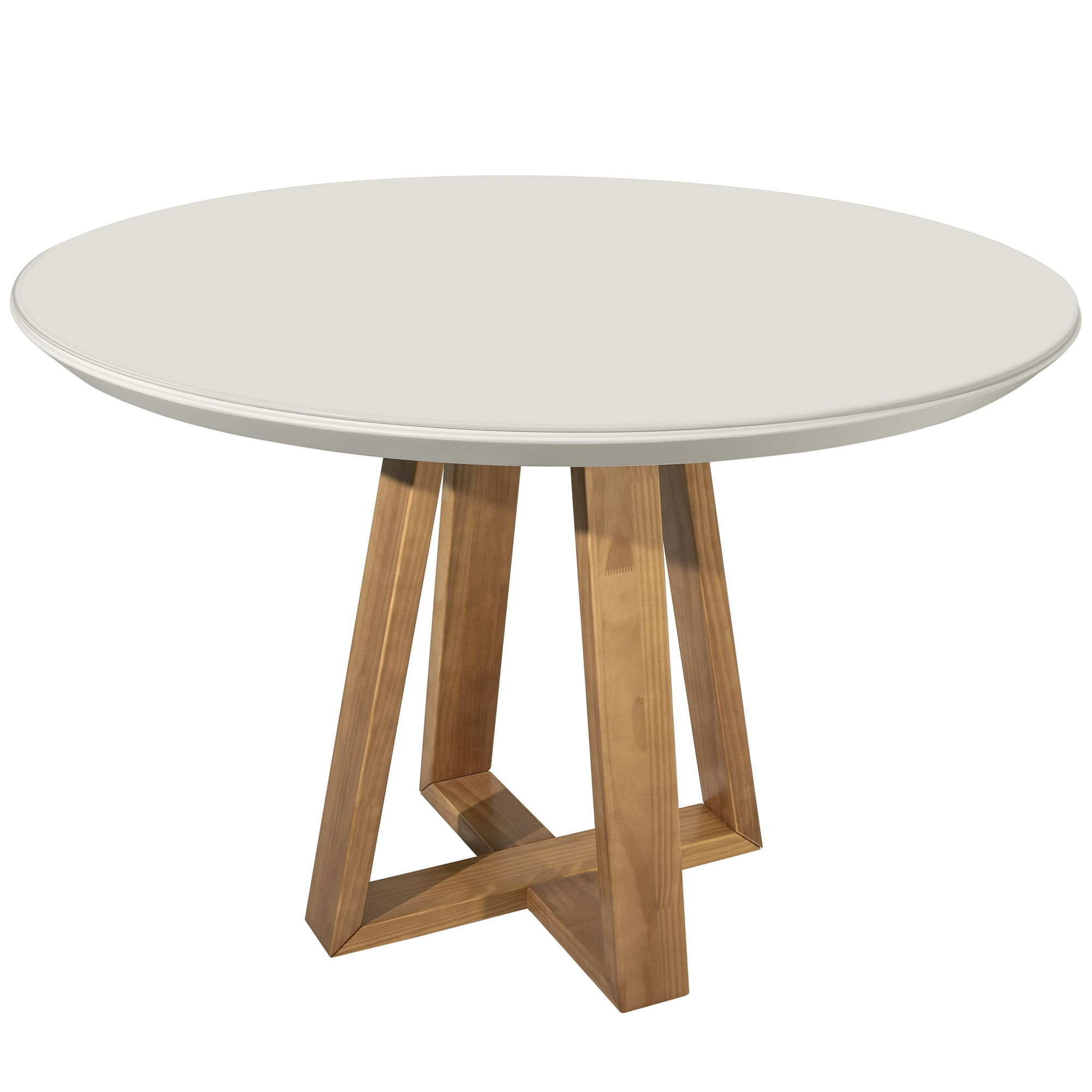 Manhattan Comfort Duffy Off White Solid Wood Round Dining Table