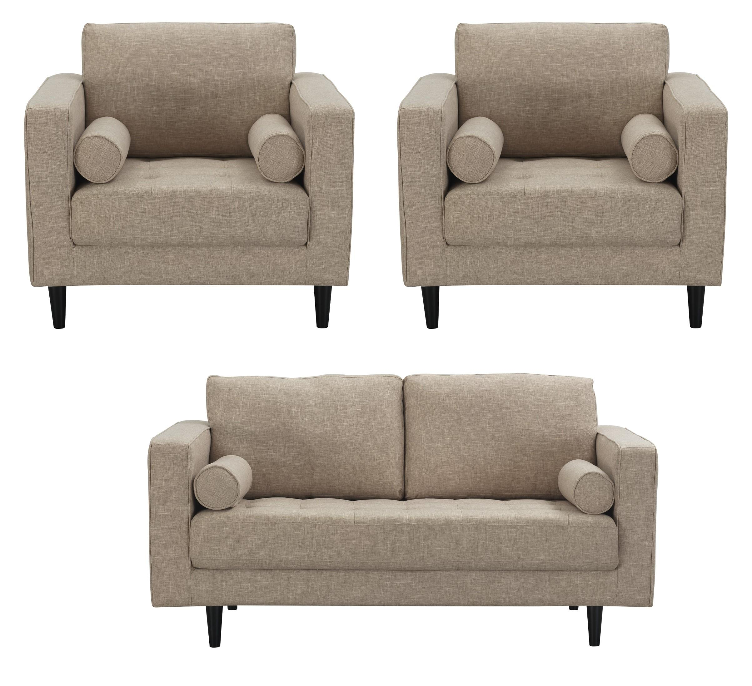 Manhattan Comfort Arthur Tan Brown 3pc Living Room Set | The ...
