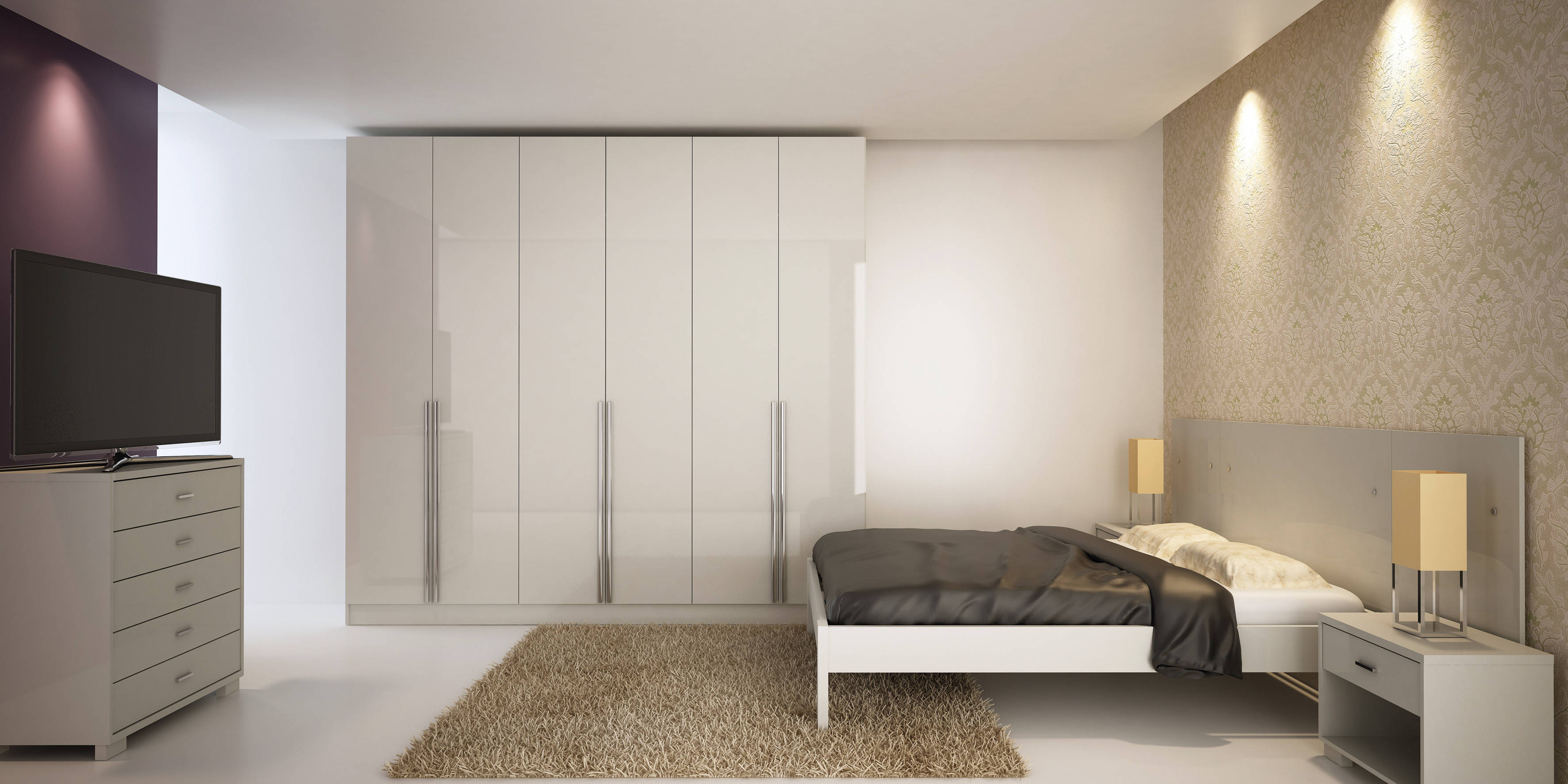 Eldridge Modern White Gloss MDF Drawers Doors Wardrobe - Manhattan bedroom furniture
