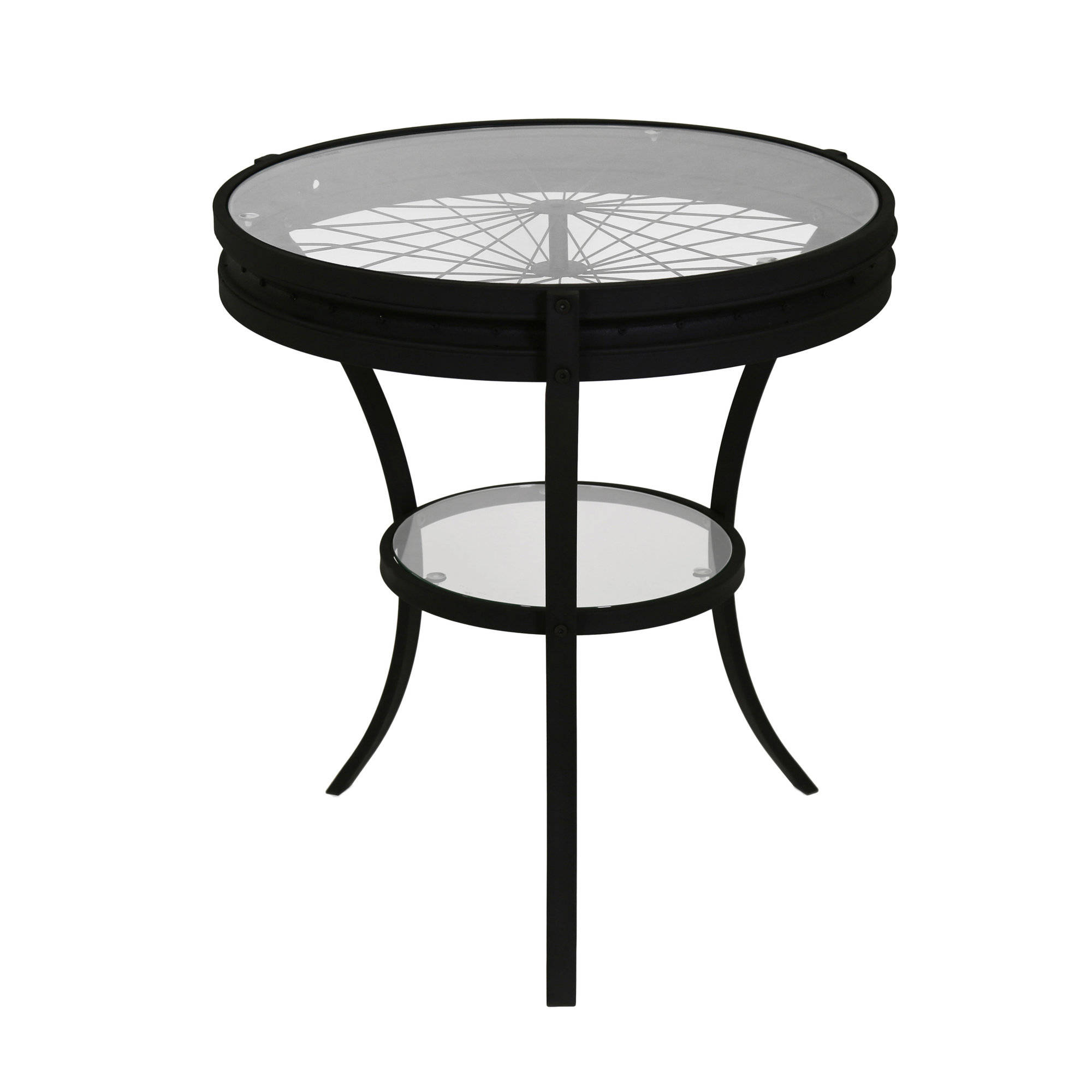 Monarch Specialties Black Clear Accent End Table