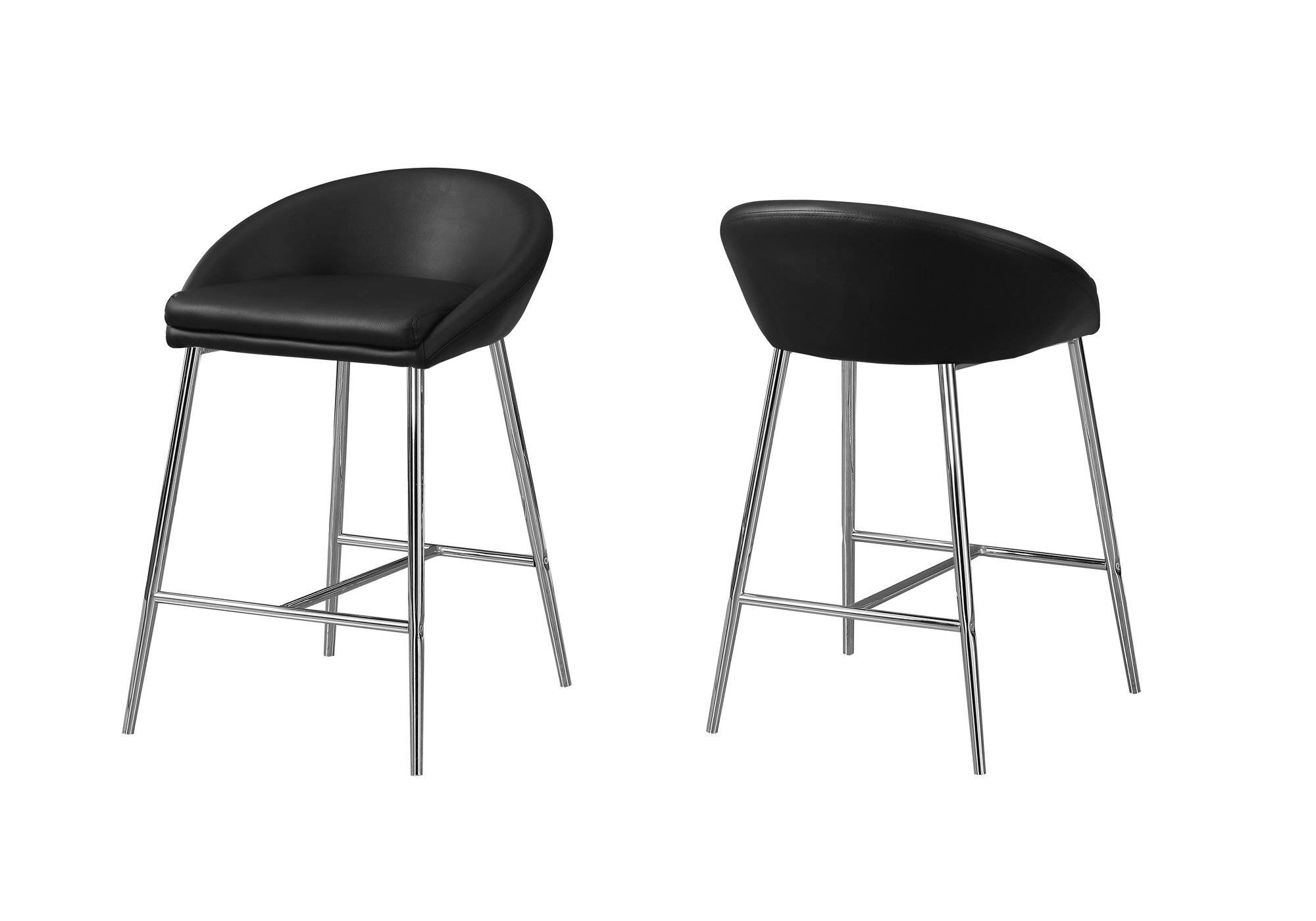Magnificent 2 Monarch Specialties Black Leather Counter Height Stools Pabps2019 Chair Design Images Pabps2019Com
