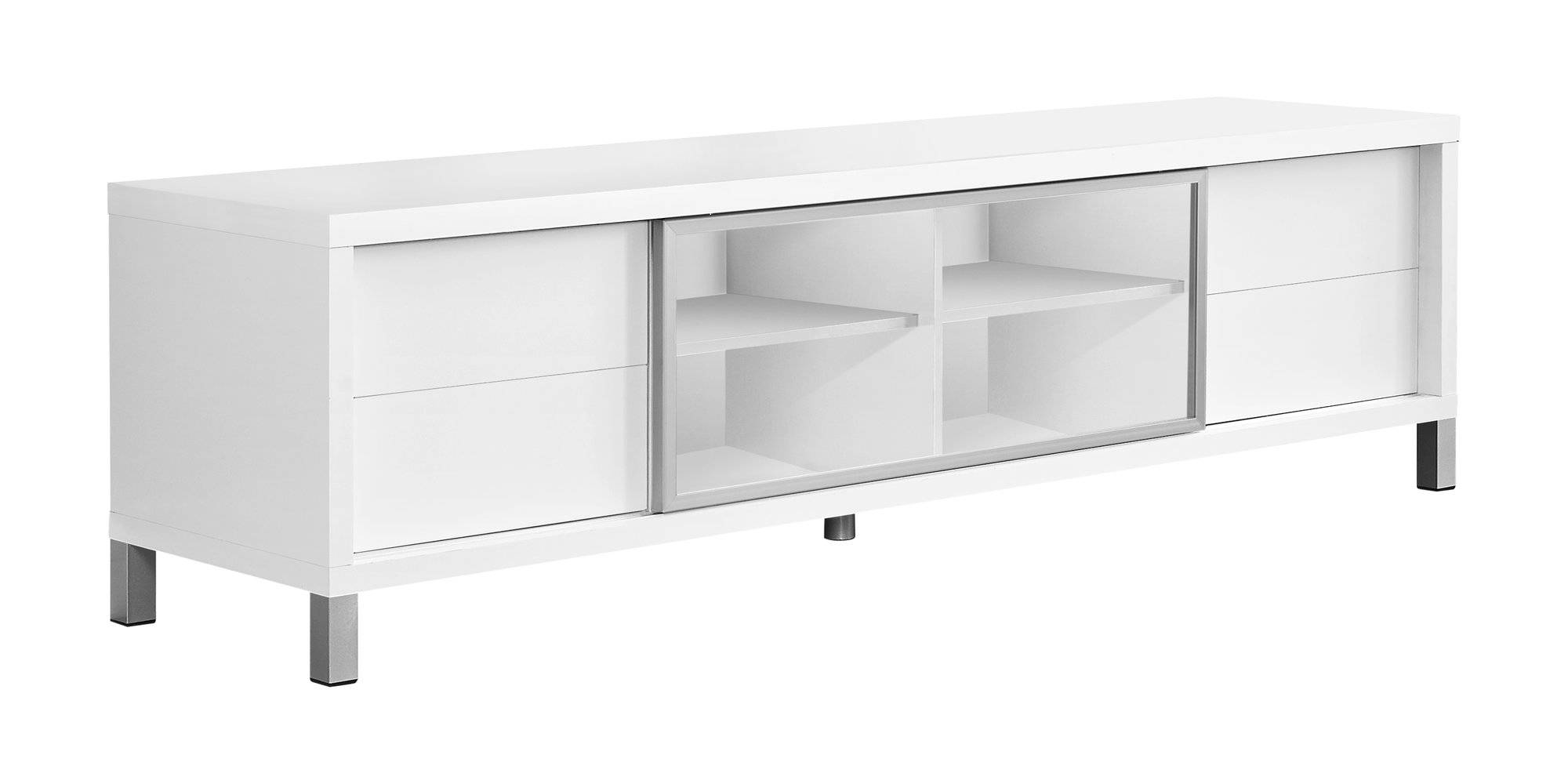 Monarch Specialties White Clear Silver Tv Stand Click To Enlarge