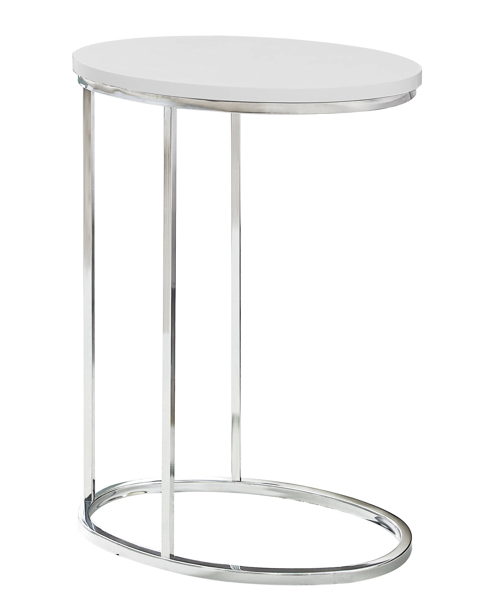 White Oval Accent Snack Table